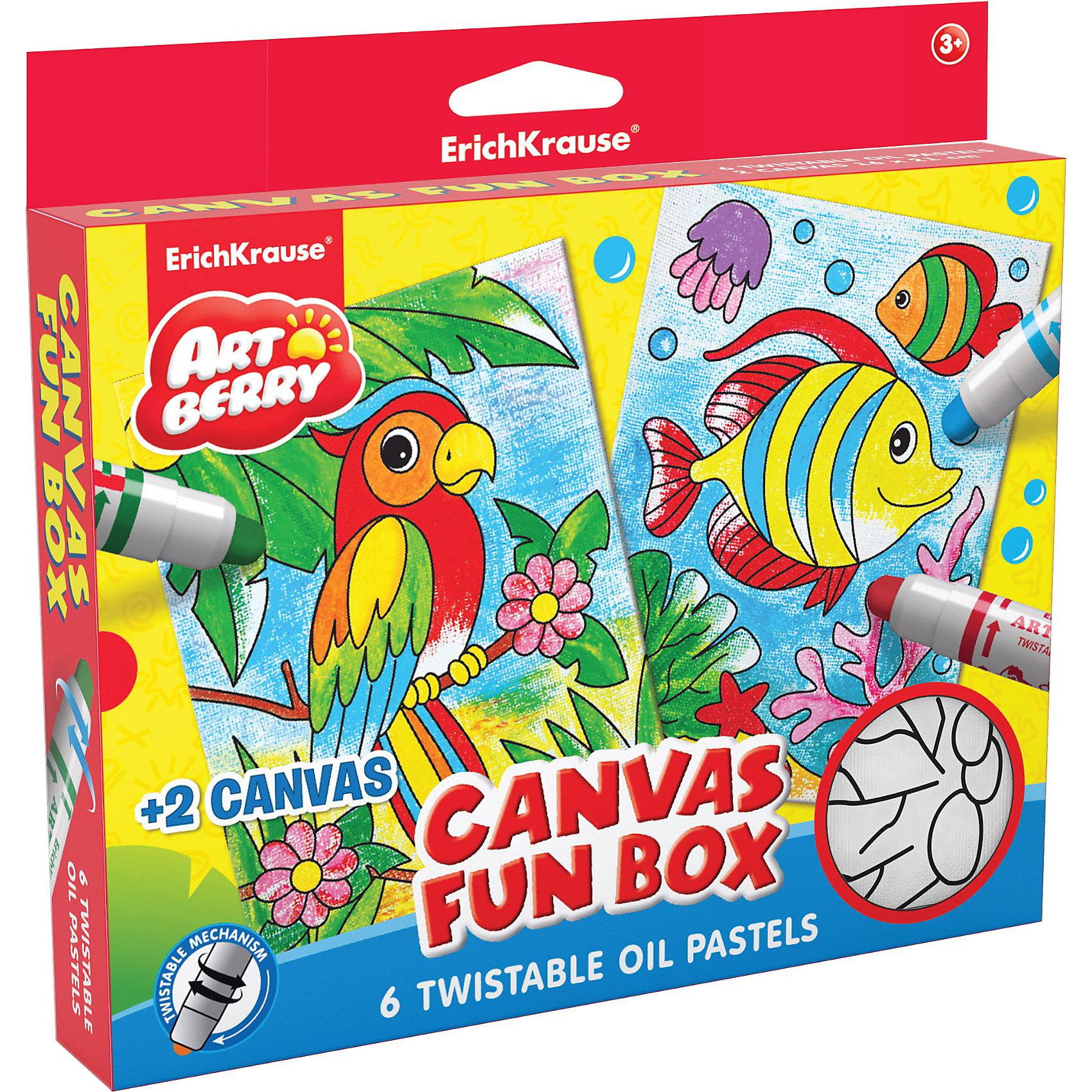 Набор для творчества Canvas Fun box ArtberryНаборы для раскрашивания<br>Набор для творчества Canvas Fun box Artberry от Erich Krause (Эрих Краузе) позволит создавать красивые рисунки на холсте. В комплекте имеется 2 холста для раскрашивания с нанесенными черно-белыми контурами рыбки и попугая и масляная пастель 6 цветов в виде больших карандашей. Для того, чтобы начать рисовать, нужно лишь покрутить колпачок карандаша с пастелью. <br><br>Дополнительная информация:<br><br>- размеры холста  16х21 см<br>- подходит для разных техник рисования<br>- краски отстирываются с большинства тканей и бытовых поверхностей<br><br>Набор для творчества Canvas Fun box Artberry можно купить в нашем магазине.<br><br>Ширина мм: 225<br>Глубина мм: 205<br>Высота мм: 35<br>Вес г: 300<br>Возраст от месяцев: 36<br>Возраст до месяцев: 96<br>Пол: Унисекс<br>Возраст: Детский<br>SKU: 3525239