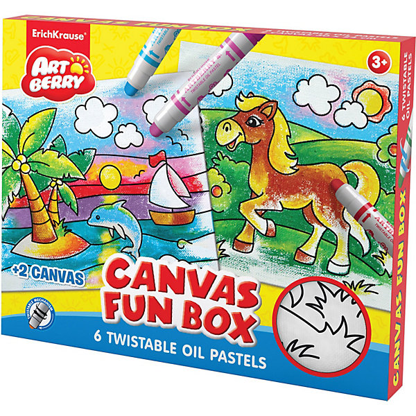 Набор для творчества Canvas Fun box ArtberryНаборы для раскрашивания<br>Набор для творчества Canvas Fun box Artberry от  Erich Krause (Эрих Краузе) позволит создавать красивые рисунки на холсте. В комплекте имеется 2 холста для раскрашивания с нанесенными черно-белыми контурами лошадки и дельфина. Для того, чтобы начать рисовать, нужно лишь покрутить колпачок карандаша с пастелью. <br><br>Дополнительная информация:<br><br>- размеры холста: 30х24 см<br>- подходит для разных техник рисования<br>- краски отстирываются с большинства тканей и бытовых поверхностей<br><br>Набор для творчества Canvas Fun box Artberry можно купить в нашем магазине.Canvas Fun box Artberry.<br><br>Ширина мм: 320<br>Глубина мм: 255<br>Высота мм: 30<br>Вес г: 683<br>Возраст от месяцев: 36<br>Возраст до месяцев: 96<br>Пол: Унисекс<br>Возраст: Детский<br>SKU: 3525240