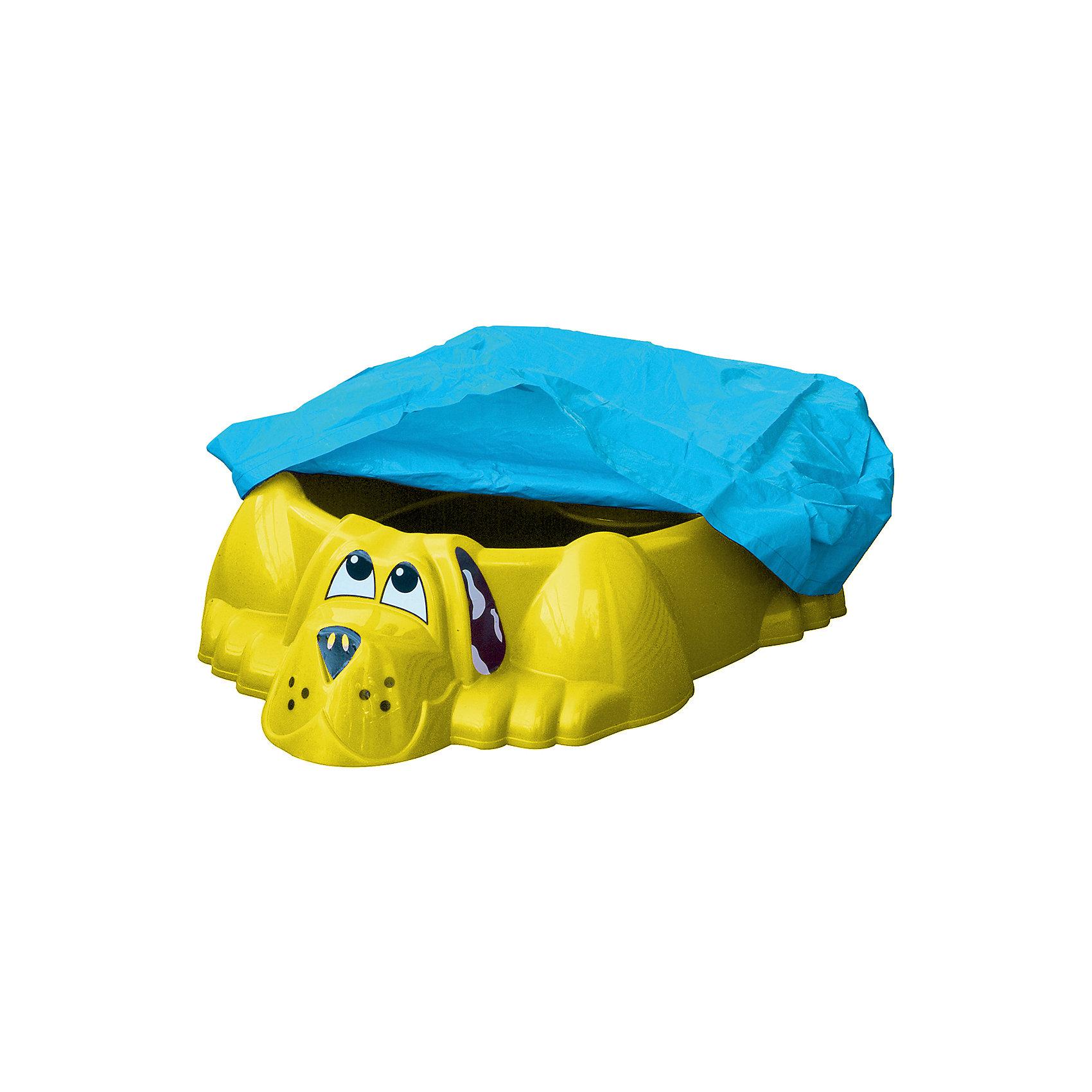 Marianplast Бассейн-песочница Собачка с покрытием, синий, Marian Plast marian plast бассейн песочница собачка с крышкой