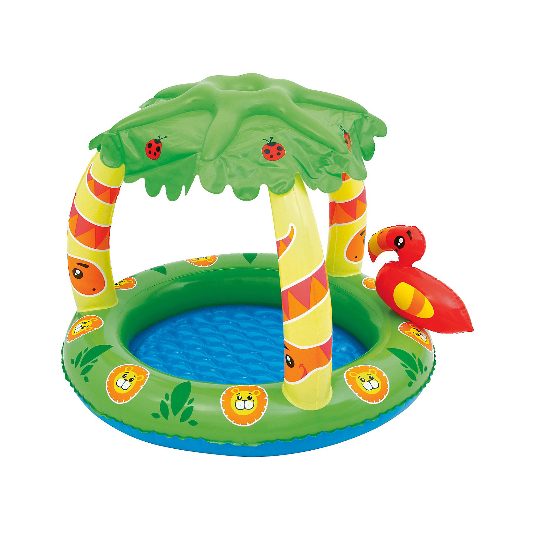 Детский бассейн с надувным навесом от солнца