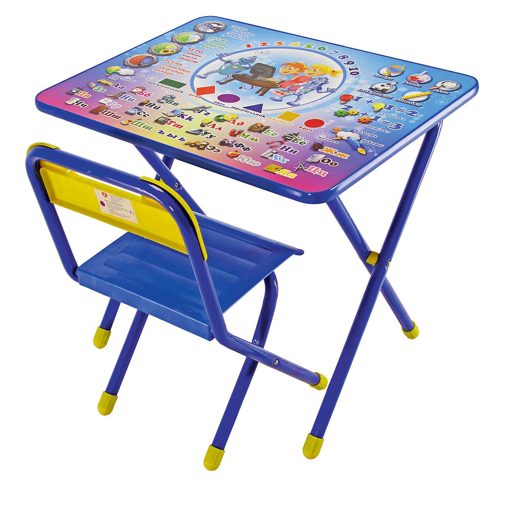 Набор мебели Электроник (2-5 лет), Дэми, синийМебель<br>В  набор мебели Дэми Электроник входит стол и стульчик, которые прекрасно подходят для эксплуатации, как дома, так и в дошкольных учреждениях. Может быть использован для детских игр и занятий.<br>Ламинированную столешницу легко очищать.  На поверхность нанесен яркий обучающий рисунок, состоящий из букв и цифр, который явно заинтересует ребёнка.<br> За столом Ваш ребенок сможет заниматься рисованием, лепкой, чтением или просто играть.<br>При необходимости набор легко складывает и убирается, поэтому он подходит даже для помещений маленькой площади.<br><br>Дополнительная информация:<br><br>- вес: 8 кг. <br>- цвет: синий <br>- размеры: 15х64х74 см.<br>- материал: металл, пластмасса<br>- размеры столешницы: 45х60 см. - высота до плоскости столешницы: 46 см.<br>- высота по сиденью: 26 см.<br>- высота верхнего края спинки: 24 см.<br>- допустимая нагрузка на сиденье до 30 кг.<br><br>Набор детской мебели Электроник, Дэми, синий можно купить в нашем интернет магазине.<br><br>Ширина мм: 150<br>Глубина мм: 740<br>Высота мм: 640<br>Вес г: 8000<br>Возраст от месяцев: 24<br>Возраст до месяцев: 60<br>Пол: Мужской<br>Возраст: Детский<br>SKU: 3530352