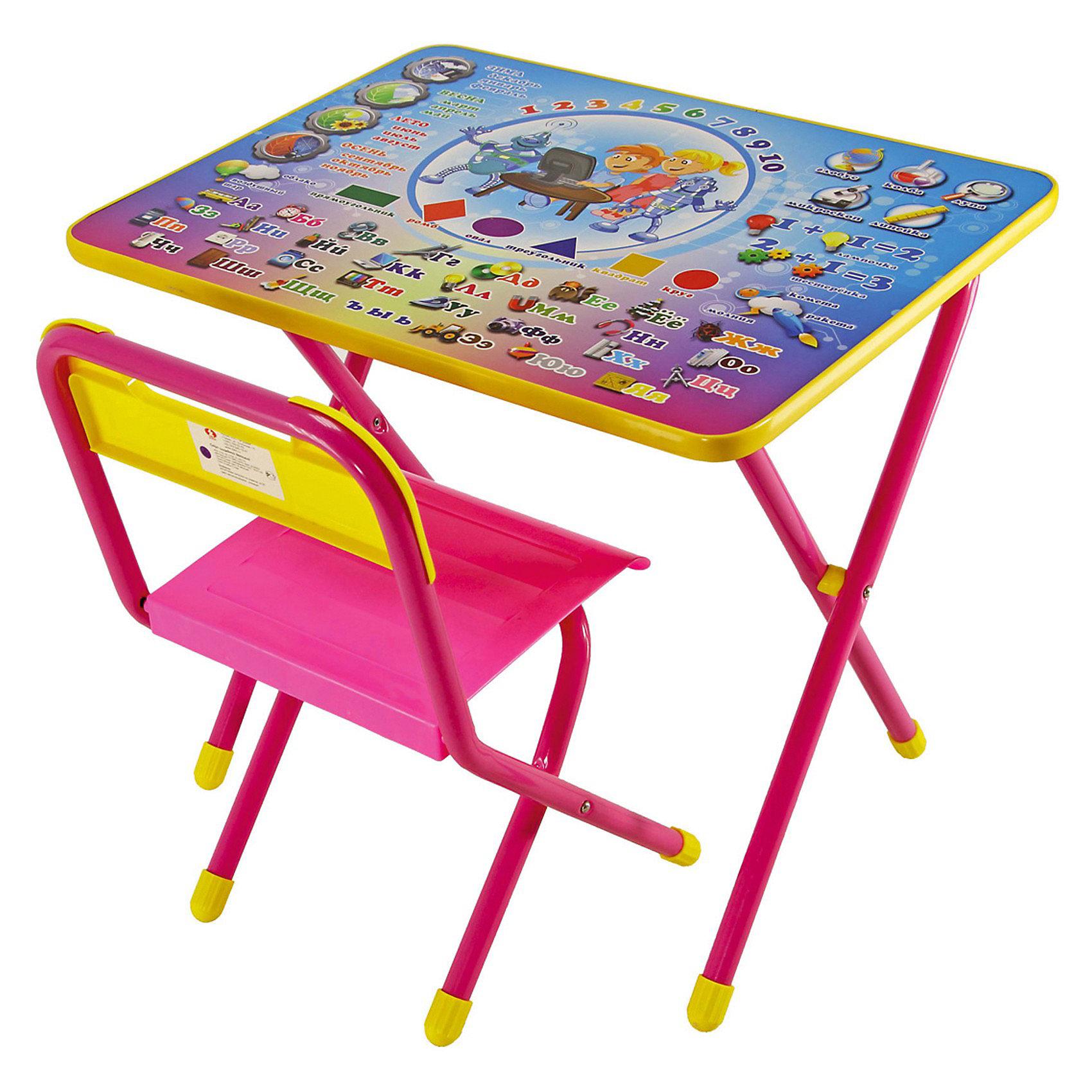 Набор мебели Электроник (2-5 лет), Дэми, розовыйМебель<br>В  набор мебели Дэми Электроник входит стол и стульчик, которые прекрасно подходят для эксплуатации как дома, так и в дошкольных учреждениях. Может быть использован для детских игр и занятий.<br>Ламинированную столешницу легко очищать.<br>На её поверхность нанесен яркий обучающий рисунок, состоящий из букв и цифр, который явно заинтересует ребёнка.<br>За столом Ваш ребенок сможет заниматься рисованием, лепкой, чтением или просто играть.<br>При необходимости набор легко складывает и убирается, поэтому он подходит даже для помещений маленькой площади.<br><br>Дополнительная информация:<br><br>- вес:  8 кг. <br>- цвет:  розовый <br>- размеры:  15х64х74 см. <br>- материал:  металл, пластмасса <br>- размеры столешницы: 45х60 см.<br>- высота до плоскости столешницы: 46 см.<br>- высота по сиденью: 26 см.<br>- высота верхнего края спинки: 24 см.<br>- допустимая нагрузка на сиденье до 30 кг.<br><br>Набор детской мебели Электроник, Дэми, розовый можно купить в нашем интернет магазине.<br><br>Ширина мм: 150<br>Глубина мм: 740<br>Высота мм: 640<br>Вес г: 8000<br>Возраст от месяцев: 24<br>Возраст до месяцев: 60<br>Пол: Женский<br>Возраст: Детский<br>SKU: 3530353