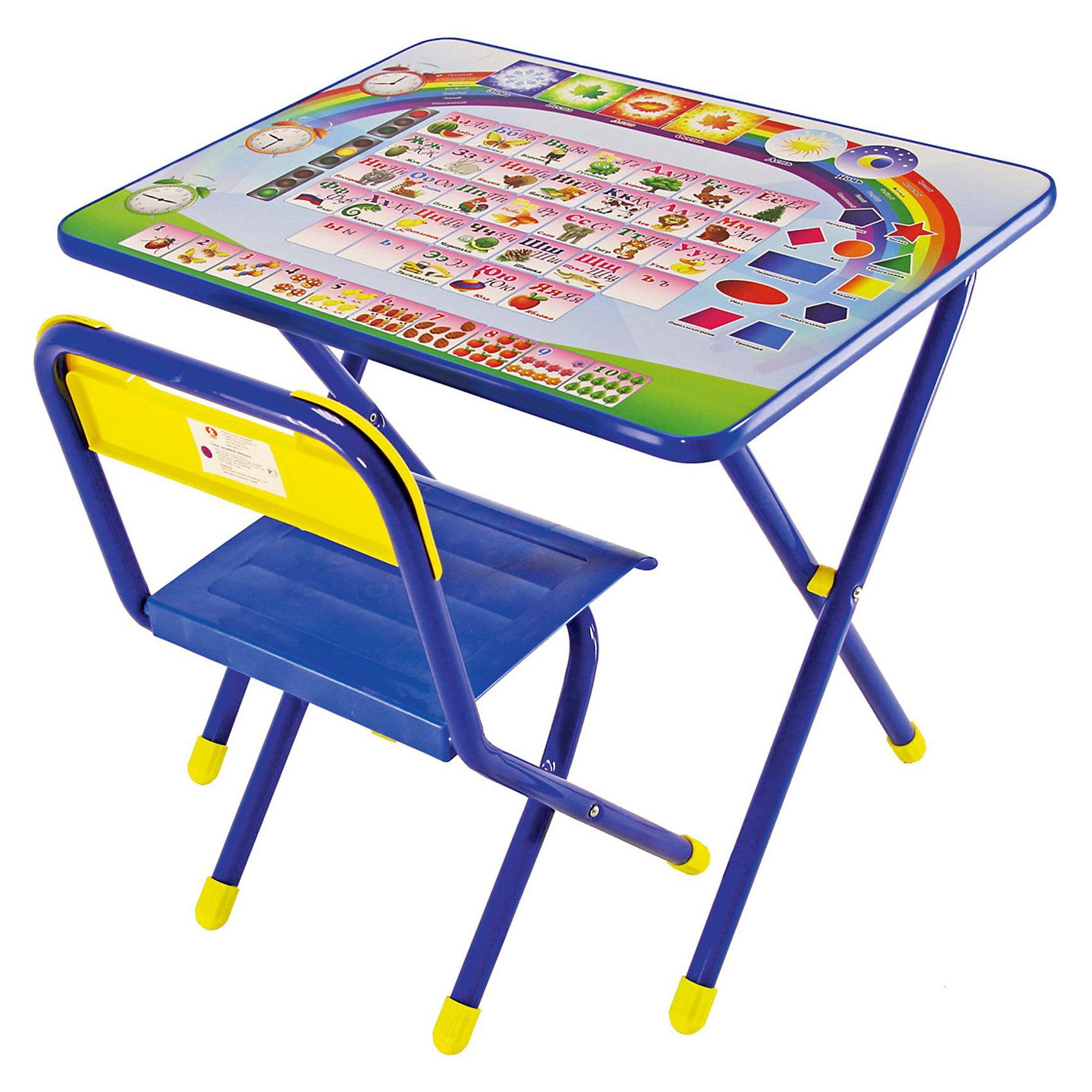Набор мебели Алфавит (2-5 лет), Дэми, синийМебель<br>В данный набор входит стол и стульчик, которые прекрасно подходят для эксплуатации как дома, так и в дошкольных учреждениях. Может быть использован для детских игр и занятий.<br>Ламинированную столешницу легко очищать.<br>На поверхность нанесен яркий обучающий рисунок, состоящий из букв и цифр, который явно заинтересует ребёнка.<br>За столом Ваш ребенок сможет заниматься рисованием, лепкой, чтением или просто играть.<br>При необходимости набор легко складывает и убирается, поэтому он подходит даже для помещений маленькой площади.<br><br>Дополнительная информация:<br><br>- вес набора:  8 кг. <br>- цвет:  синий <br>- размеры : 15х64х74 см. <br>- материал: металл, пластмасса <br>- размеры столешницы: 45х60 см.<br>- высота до плоскости столешницы: 46 см.<br>- высота по сиденью: 26 см.<br>- высота верхнего края спинки: 24 см.<br>- допустимая нагрузка на сиденье до 30 кг.<br><br>Набор детской мебели Алфавит, Дэми, синий можно купить в нашем интернет магазине.<br><br>Ширина мм: 150<br>Глубина мм: 740<br>Высота мм: 640<br>Вес г: 8000<br>Возраст от месяцев: 24<br>Возраст до месяцев: 60<br>Пол: Мужской<br>Возраст: Детский<br>SKU: 3530354