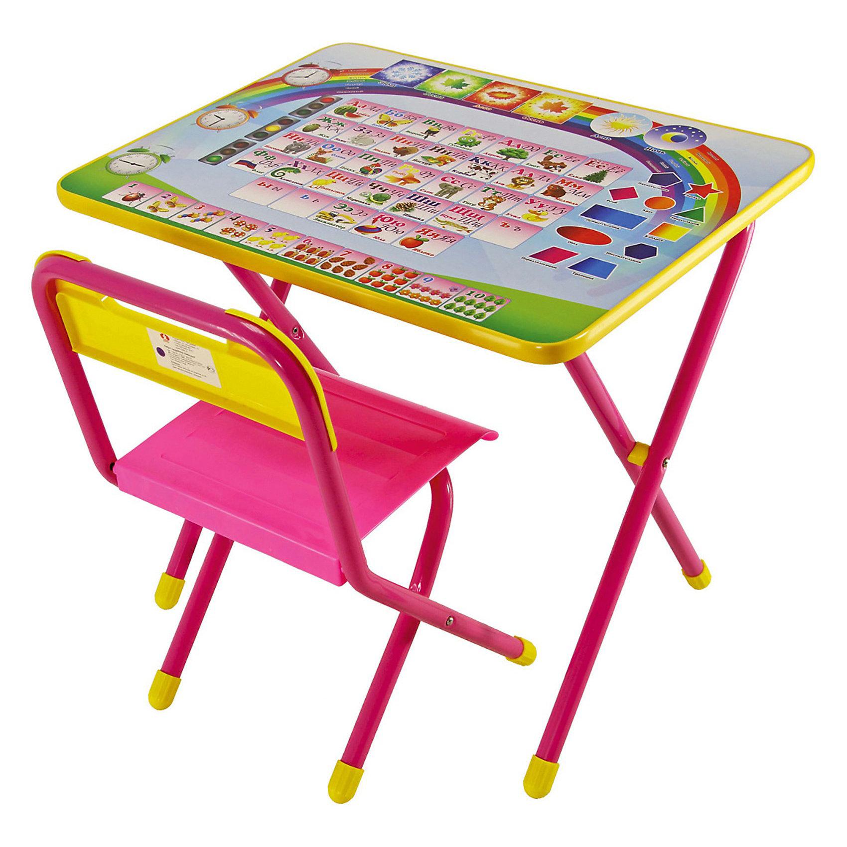 Набор мебели Алфавит (2-5 лет), Дэми, розовыйМебель<br>В набор мебели Дэми Алфавит входит стол и стульчик, которые прекрасно подходят для эксплуатации как дома, так и в дошкольных учреждениях, а также маленький пенал для ручек и карандашей.<br>Ламинированную столешницу легко очищать. На поверхность нанесен яркий обучающий рисунок, состоящий из букв и цифр, который явно заинтересует ребёнка.<br>За столом Ваш ребенок сможет заниматься рисованием, лепкой, чтением или просто играть, изучать алфавит, цвета, формы и т.д.<br>При необходимости набор легко складывает и убирается, поэтому он подходит даже для помещений маленькой площади.<br><br>Данный набор подходит под возрастную категорию детей от 2 до 5 лет.<br><br>Дополнительная информация:<br><br>- вес: 8 кг. <br>- цвет: розовый <br>- размеры: 15х64х74 см.<br>- материал:  металл, пластмасса <br>- размеры столешницы: 45х60 см.<br>- высота до плоскости столешницы: 46 см.<br>- высота по сиденью: 26 см.<br>- высота верхнего края спинки: 24 см.<br>- допустимая нагрузка на сиденье до 30 кг.<br><br>Розовый набор детской мебели Алфавит с пеналом, Дэми можно купить в нашем интернет магазине.<br><br>Ширина мм: 150<br>Глубина мм: 740<br>Высота мм: 640<br>Вес г: 8000<br>Возраст от месяцев: 24<br>Возраст до месяцев: 60<br>Пол: Женский<br>Возраст: Детский<br>SKU: 3530355