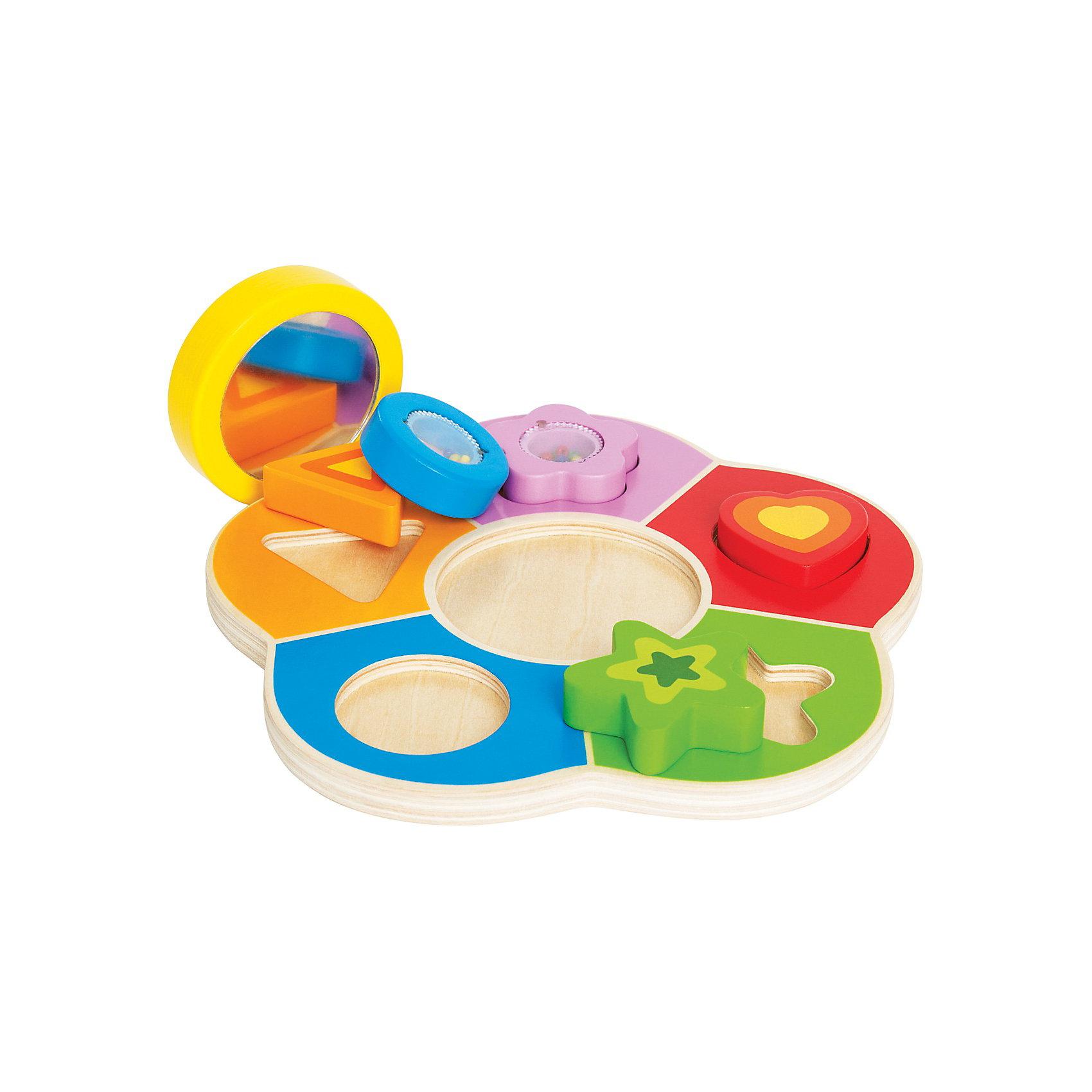 Игрушка деревянная Пазл, HapeДеревянный пазл Hape (Хапе) - это интересная игрушка для развития Ваших малышей. Изготовлен пазл из высококачественного, экологически чистого дерева, которое безопасно для детей. Края игрушки тщательно обрабатываются, что поможет избежать травм. Малышам надо правильно подобрать фигурку по форме, и вставить ее в отверстие. Игрушка способствует развитию моторики, внимательности, ловкости, концентрации и логического мышления. Также малыши познакомятся с различными цветами и формами. С зеркальцем можно играть отдельно, разглядывая себя. <br><br>Дополнительная информация:<br><br>- Материал: дерево;<br>- Идеален для самых маленьких;<br>- Пазл выполнен в виде красивого цветочка с яркими лепестками, что привлечет внимания деток;<br>- Игрушка состоит из пяти лепестков и серединки, куда вставляется мини-зеркало;<br>- Также прилагается пять разноцветных фигурок, которые надо вставить в отверстие на лепестках;<br>- Пазл имеет округлые формы для безопасности малышей;<br>- Цветочек понравится как девочкам, так и мальчикам;<br>- Размер упаковки: 24,5 х 6 х 24 см;<br>- Размер игрушки: 22 х 22 х 3 см;<br>- Вес: 0,33 кг.<br><br>Игрушку деревянный Пазл, Hape (Хапе) можно купить в нашем интернет-магазине.<br><br>Ширина мм: 60<br>Глубина мм: 240<br>Высота мм: 245<br>Вес г: 333<br>Возраст от месяцев: 18<br>Возраст до месяцев: 36<br>Пол: Унисекс<br>Возраст: Детский<br>SKU: 3534101