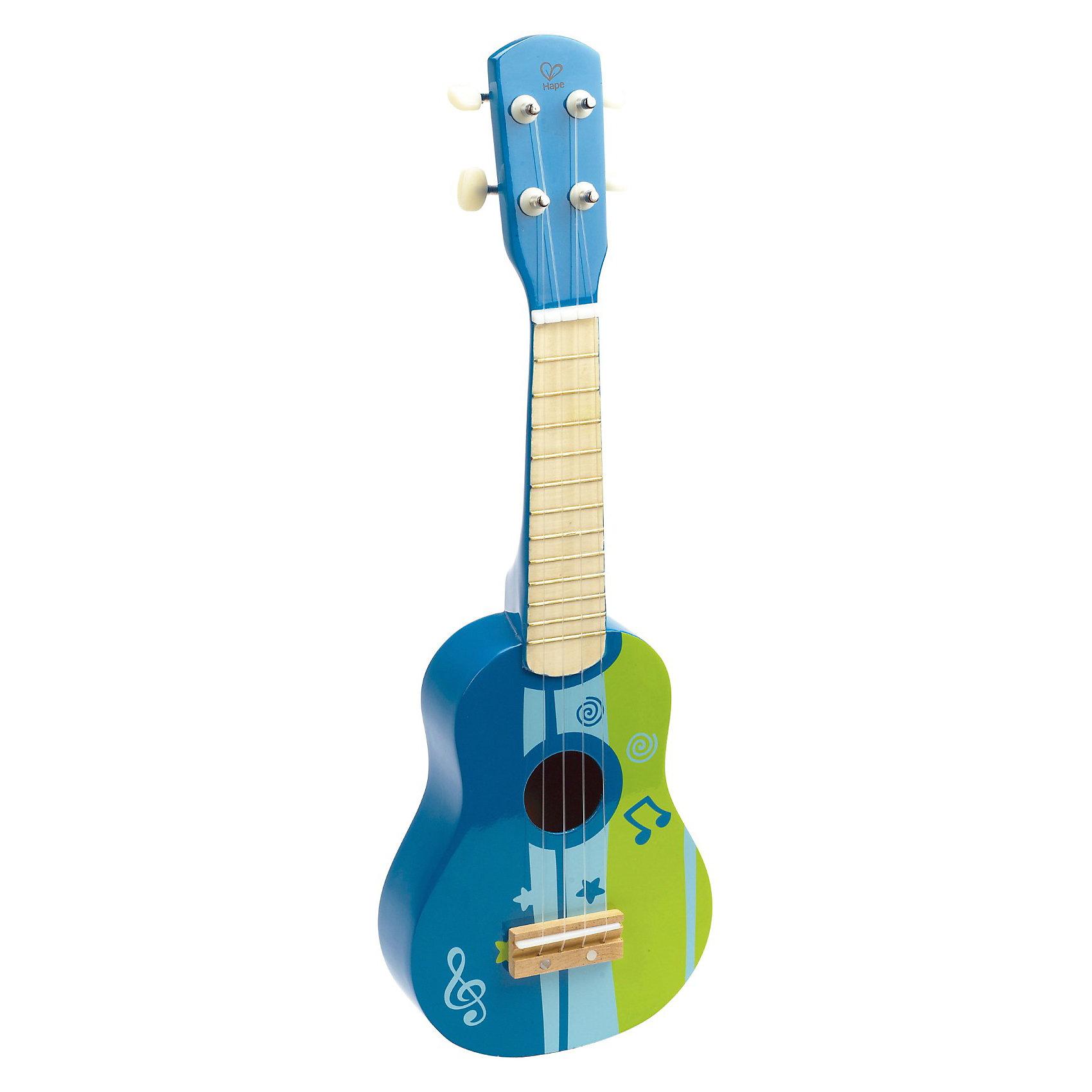 Гитара синяя, HapeГитара синяя, Hape (Хапе) идеальный подарок  для подросших юных музыкантов. Перебирая струны, малыш не только знакомится с миром музыки, но и тренирует ловкость пальчиков и мелкую моторику. Вашему ребенку обязательно понравится красивый инструмент яркой окраски, и возможно позже он захочет освоить настоящую гитару!<br>Игрушка развивает музыкальный слух, звучание инструмента натуральное, дарит положительные эмоции. Игрушка изготовлена из ценных, редких видов деревьев. Для окраски применяются стойкие краски, не содержащие фенол.<br><br>Дополнительная информация:<br><br>- Первый музыкальный инструмент малыша;<br>- У гитары 4 струны;<br>- Материал: дерево, металл;<br>- Малыш сможет создавать свои собственные музыкальные партии;<br>- Развивает мелкую моторику, координации глаз и рук, музыкальные навыки;<br>- Игрушка понравится как девочкам, так и мальчикам;<br>- Цвет: Синий;<br>- Размер гитары: 53 х 17 х 6 см;<br>- Вес: 0,36 кг.<br><br>Гитару синюю, Hape (Хапе)  можно купить в нашем интернет-магазине.<br><br>Ширина мм: 545<br>Глубина мм: 100<br>Высота мм: 175<br>Вес г: 360<br>Возраст от месяцев: 36<br>Возраст до месяцев: 60<br>Пол: Унисекс<br>Возраст: Детский<br>SKU: 3534104