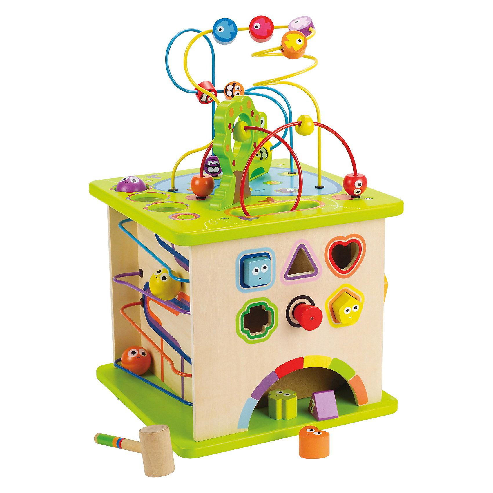 Большой активный куб, HapeБольшой активный куб, Hape (Хапе) - это развивающая игрушка, которая предоставляет массу игровых возможностей для малыша. На каждой стороне кубика есть своя мини игра. Малыш сможет познакомится с лабиринтом, поиграть в сортер с различными геометрическими фигурами, покатать шарики по ложбинкам, познакомиться с разными животными и выучить цвета. Бесчисленное количество развивающих элементов на все группы навыков: <br>На верхней стороне игрушки находится лабиринт.<br>На боковой стороне 1: сортер и фигурки, которые малышу предстоит забивать молоточком.<br>На боковой стороне 2: лабиринт с разноцветными животными, которых нужно сортировать по цвету.<br>На боковой стороне 3: забавные шарики, которые можно скатывать по ложбинкам.<br>На боковой стороне 4: вращающийся лабиринт.<br>Уникальное развитие в игровой форме!<br><br>Дополнительная информация:<br><br>- Игрушка окрашена в яркие цвета;<br>- Множество интересных малышу заданий;<br>- С этим сортером малыш познакомится с миром геометрических фигур, научится отличать цвета;<br>- Игрушка развивает навыки логического и критического мышления, улучшает навыки координации и ловкости;<br>- Материал: дерево, металл;<br>- Игрушка понравится как девочкам, так и мальчикам;<br>- Вес: 0,65 кг.<br><br>Большой активный куб, Hape (Хапе)  можно купить в нашем интернет-магазине.<br><br>Ширина мм: 413<br>Глубина мм: 411<br>Высота мм: 373<br>Вес г: 8100<br>Возраст от месяцев: 12<br>Возраст до месяцев: 36<br>Пол: Унисекс<br>Возраст: Детский<br>SKU: 3534106