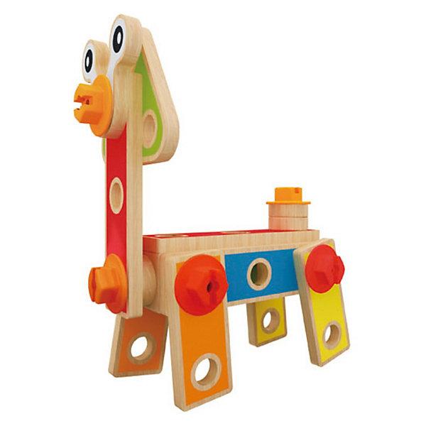 Развивающий конструктор Юный строитель, HapeДеревянные конструкторы<br>Развивающий конструктор Юный строитель, Hape (Хапе) состоит из различных деталей и крепежных элементов, с помощью которых Ваш ребенок составит множество интересных фигур и элементов. Игрушка интересна тем, что развивает у ребенка воображение, логику, мышление, мелкую моторику ручек, координацию движений. Игрушка познакомит Вашего малыша с винтовыми соединениями, шестеренками и процессами сборки с помощью инструментов.  Тут уже 42 детали и предназначен он не для обычных башенок, а для создания  всего, что придет на ум! Ведь тут есть винтики, гайки, отвертка, гаечный ключ...одним словом все, что нужно маленькому мастеру! В комплекте пошаговая инструкция, что немаловажно! Освоив ее, деткам не составит труда придумать и свои модели.<br><br>Дополнительная информация:<br><br>- 42 детали в наборе;<br>- Материал: дерево;<br>- Игрушка понравится как девочкам, так и мальчикам;<br>- Вес: 0,43 кг.<br><br>Развивающий конструктор Юный строитель, Hape (Хапе)  можно купить в нашем интернет-магазине.<br><br>Ширина мм: 170<br>Глубина мм: 115<br>Высота мм: 80<br>Вес г: 43<br>Возраст от месяцев: 36<br>Возраст до месяцев: 84<br>Пол: Унисекс<br>Возраст: Детский<br>SKU: 3534107