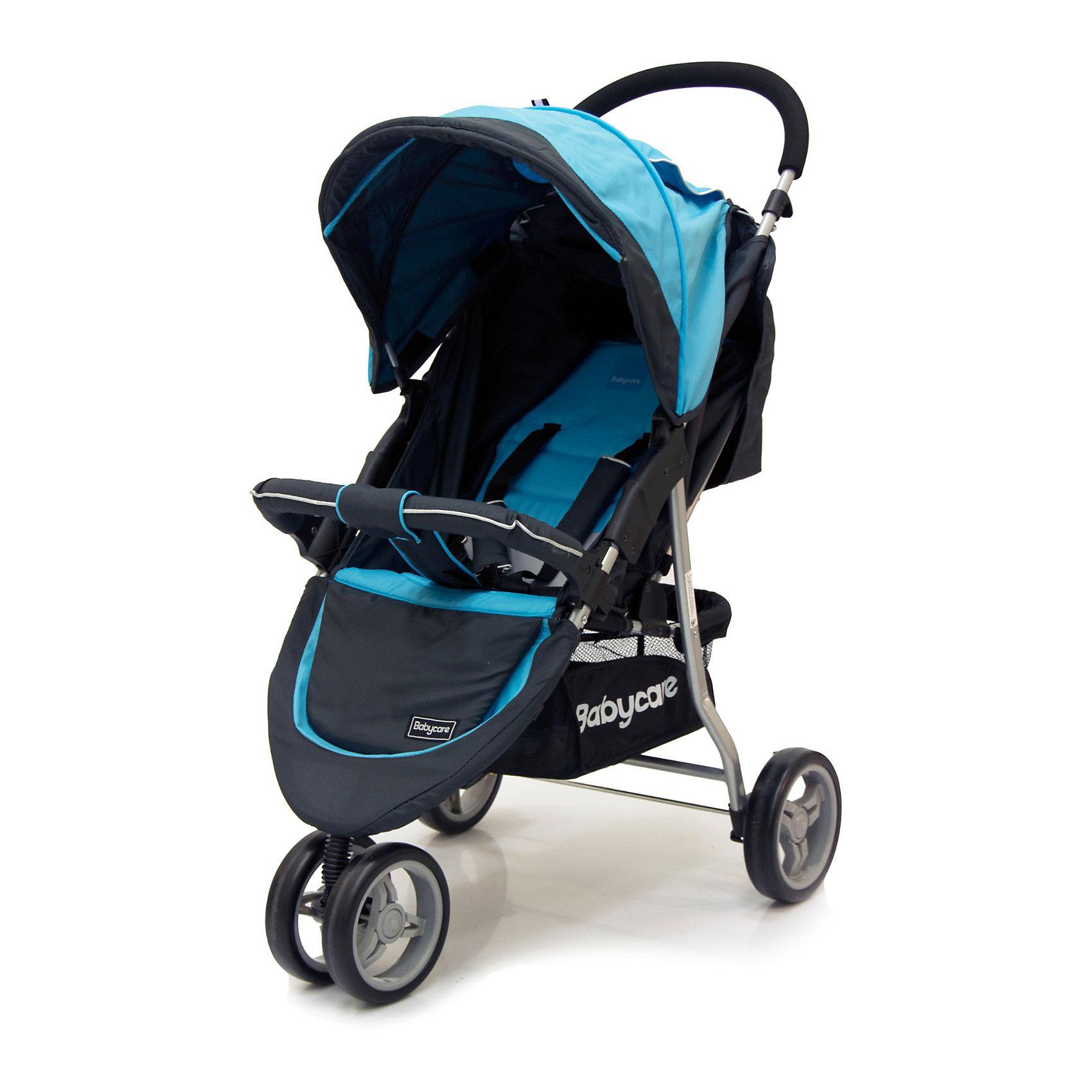 Прогулочная коляска Jogger Lite, Baby Care, голубойКоляска Jogger Lite от Baby Care - трехколесная прогулочная коляска, очень легкая, удобная  и маневренная. Благодаря продуманному дизайну коляска очень комфортна не только для ребенка но и для мамы. Особая конструкция колес - сдвоенное переднее и задние с увеличенными диаметром обеспечивают коляске высокую маневренность и хорошую проходимость, коляска отлично передвигается по любой местности.<br><br>Коляска оснащена удобным сиденьем для малыша с 5-точечными ремнями безопасности и съемным бампером, спинка механически раскладывается до 170 градусов. Подножку также можно настраивать по высоте. С ее помощью получается просторное спальное место оптимальной длины. Сиденье защищено большим капюшоном с карманом, окошком и дополнительным козырьком. В коляске имеется также просторная корзина для детских принадлежностей или покупок.<br>Коляска легко складывается книжкой, ее компактность и легкий вес позволяют использовать ее во время поездок и путешествий.<br> <br>Особенности:<br><br>- легкая алюминиевая рама;<br>- материал с водоотталкивающей пропиткой;<br>- большой капюшон с окошком, карманом на молнии и дополнительным козырьком;<br>- в комплект входит чехол на ножки;<br>- механическое раскладывание спинки до 170 градусов;<br>- подножка регулируется по высоте;<br>- съемный бампер с мягкой накладкой;<br>- 5-точечные ремни безопасности;<br>- сетчатая корзина для покупок;<br>- тип колес: переднее – сдвоенное, заднее – одинарное, пластиковая имитация;<br>- коляска легко складывается книжкой, может стоять в сложенном виде, компактна в хранении.<br><br>Дополнительная информация:<br><br>- Материал: ткань, аллюминий.<br>- Цвет: голубой.<br>- Длина спального места: 60 см.<br>- Размер сиденья: 20 x 30 см.<br>- Высота сиденья от пола: 40 см.<br>- Диаметр колес: переднее – 17 см, задние – 19 см.<br>- Ширина колесной базы: 53 см<br>- Размер коляски в сложенном виде: 53 x 83 x 40 см.<br>- Размер упаковки: 80 x 20 x 48 см.<br>- Вес: 7,5 кг
