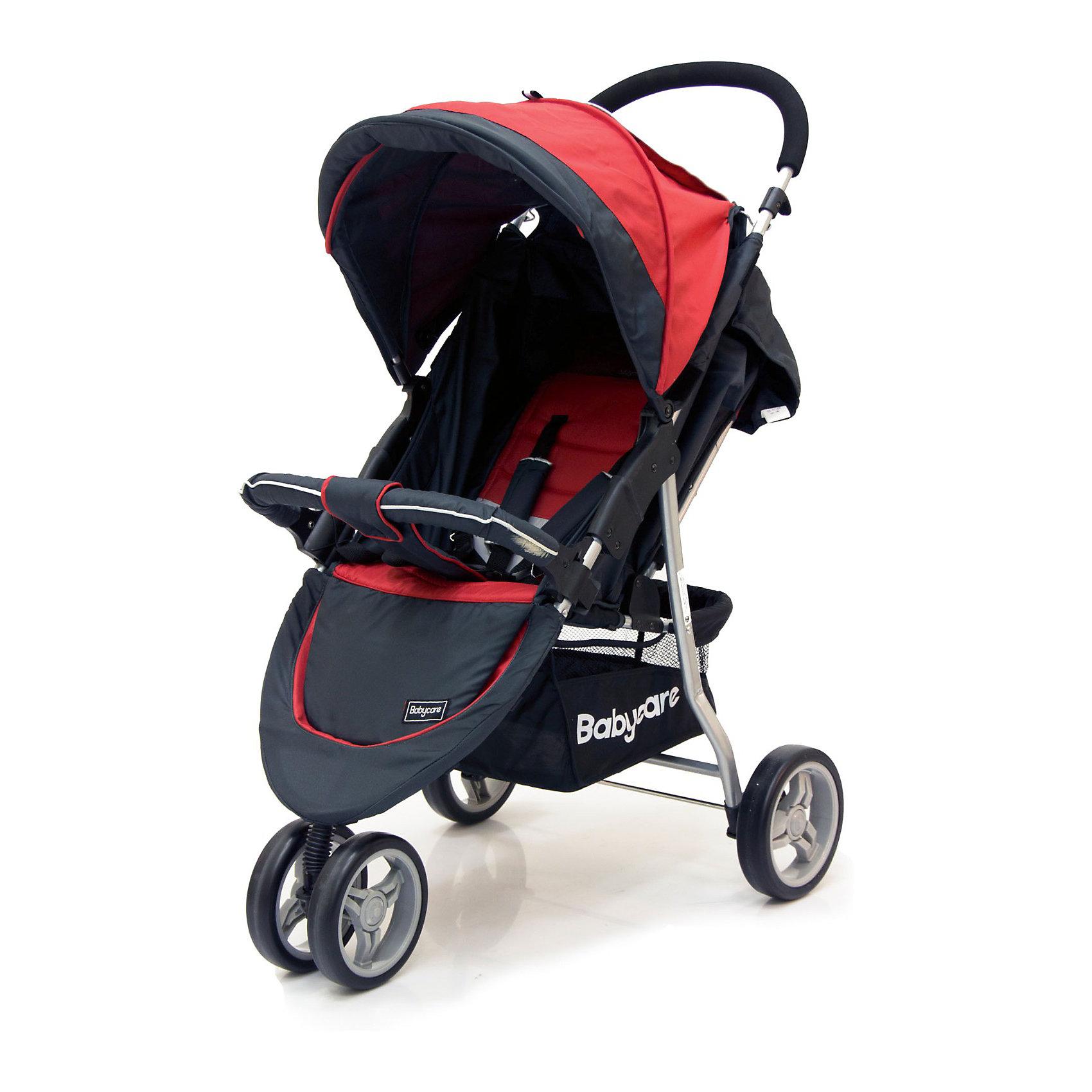 Прогулочная коляска Jogger Lite, Baby Care, красныйКоляска Jogger Lite от Baby Care - трехколесная прогулочная коляска, очень легкая, удобная  и маневренная. Благодаря продуманному дизайну коляска очень комфортна не только<br>для ребенка но и для мамы. Особая конструкция колес - сдвоенное переднее и задние с увеличенными диаметром обеспечивают коляске высокую маневренность и хорошую<br>проходимость, коляска отлично передвигается по любой местности.<br><br>Коляска оснащена удобным сиденьем для малыша с 5-точечными ремнями безопасности и съемным бампером, спинка механически раскладывается до 170 градусов. Подножку<br>также можно настраивать по высоте. С ее помощью получается просторное спальное место оптимальной длины. Сиденье защищено большим капюшоном с карманом, окошком и дополнительным козырьком. В коляске имеется также просторная корзина для детских принадлежностей или покупок.<br><br>Коляска легко складывается книжкой, ее компактность и легкий вес позволяют использовать ее во время поездок и путешествий.<br> <br>Особенности:<br><br>- легкая алюминиевая рама;<br>- материал с водоотталкивающей пропиткой;<br>- большой капюшон с окошком, карманом на молнии и дополнительным козырьком;<br>- в комплект входит чехол на ножки;<br>- механическое раскладывание спинки до 170 градусов;<br>- подножка регулируется по высоте;<br>- съемный бампер с мягкой накладкой;<br>- 5-точечные ремни безопасности;<br>- сетчатая корзина для покупок;<br>- тип колес: переднее – сдвоенное, заднее – одинарное, пластиковая имитация;<br>- коляска легко складывается книжкой, может стоять в сложенном виде, компактна в хранении.<br><br>Дополнительная информация:<br><br>- Материал: ткань, аллюминий.<br>- Цвет: красный.<br>- Длина спального места: 60 см.<br>- Размер сиденья: 20 x 30 см.<br>- Высота сиденья от пола: 40 см.<br>- Диаметр колес: переднее – 17 см, задние – 19 см.<br>- Ширина колесной базы: 53 см.<br>- Размер коляски в сложенном виде: 53 x 83 x 40 см.<br>- Размер упаковки: 80 x 20 x 48 см.<br