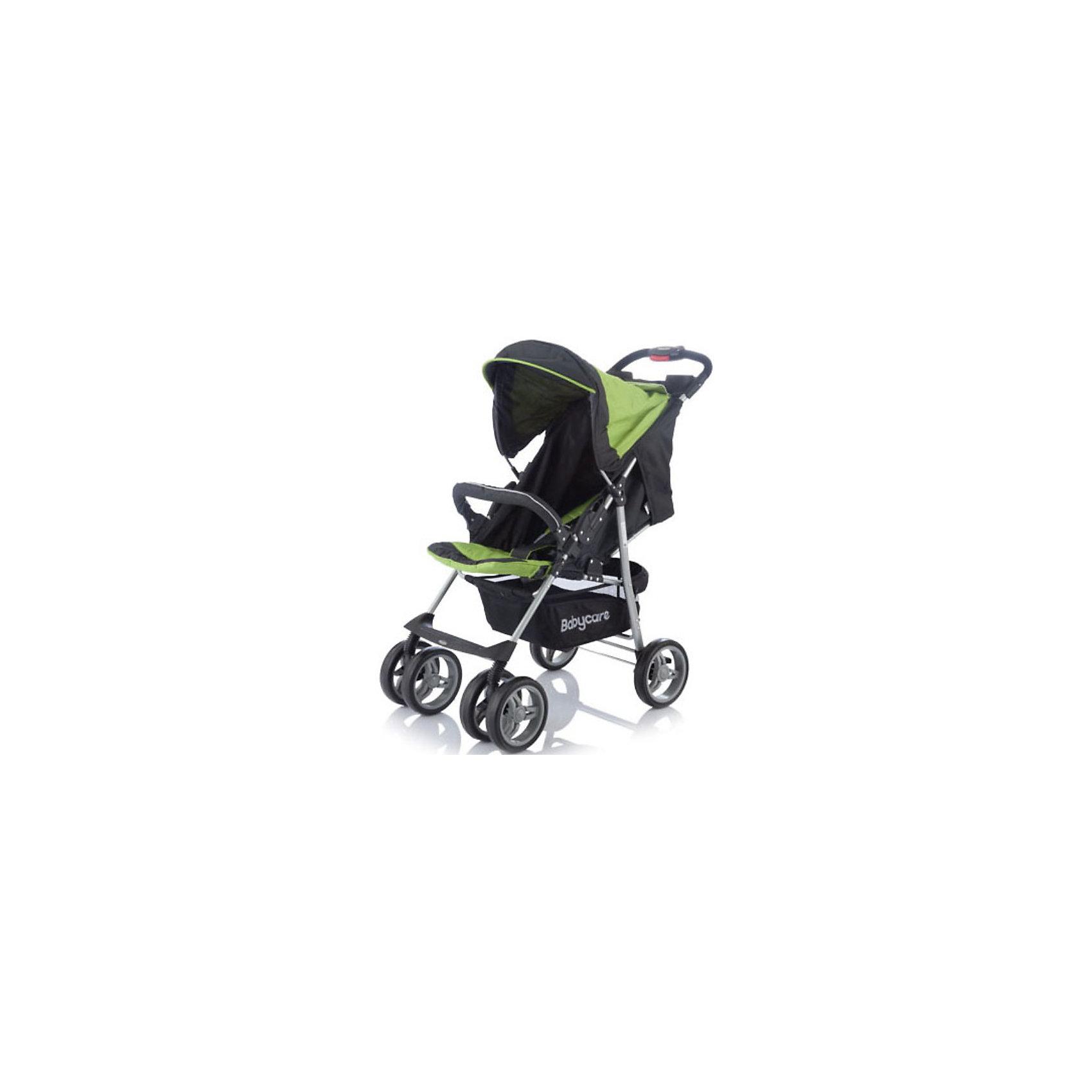 Прогулочная коляска Voyager, Baby Care, зеленыйКоляска Baby Care Voyager - легкая и маневренная прогулочная коляска. Благодаря продуманному дизайну коляска очень комфортна не только для ребенка но и для мамы.<br>Колеса из прочного и легкого пластикового полимера обеспечивают проходимость по любой местности, не гремят по асфальту, передние колеса можно фиксировать как в положении прямо так и в свободном (360 градусов).<br><br>Коляска оснащена удобным сиденьем для малыша с 5-точечными ремнями безопасности и съемным бампером, спинка механически раскладывается в 3-х положениях до 170 <br>градусов. Подножку также можно настраивать по высоте, с ее помощью получается просторное спальное место оптимальной длины. Сиденье защищено большим опускающимся<br>капюшоном с окошком. В коляске имеется также просторная корзина для детских принадлежностей или покупок и столешница с подстаканниками.<br><br>Коляска легко складывается книжкой, ее компактность и легкий вес позволяют использовать ее во время поездок и путешествий.<br><br>Особенности:<br><br>- 3 положения спинки (включая горизонтальное 170 градусов);<br>- 5-ти точечный ремень безопасности с мягкими наплечниками;<br>- жесткая спинка с плавно регулируемым наклоном;<br>- регулируемая подножка;<br>- бампер с мягкой обивкой.<br>- облегченная алюминиевая рама;<br>- двойные плавающие передние колеса с фиксацией<br>- колеса из вспененной искусственной резины с добавлением каучука, по асфальту не гремят.<br>- большая корзина для вещей;<br>- чехол на ножки;<br>- подставка для родителей.<br><br>Дополнительная информация:<br><br>- Материал: ткань, аллюминий.<br>- Цвет: зеленый.<br>- Ширина колесной базы: 48 см.<br>- Диаметр колес: 19 см.<br>- Длина спального места: 83 см.<br>- Ширина сиденья: 38 см.<br>- Размеры в разложенном виде: 50 х 83 х 100 см.<br>- Размеры в упаковке: 20 х 53 х 90 см.<br>- Вес: 7,5 кг. <br><br>Прогулочную коляску Voyager от Baby Care можно купить в нашем интернет-магазине.<br><br>Ширина мм: 900<br>Глубина мм: 200<b