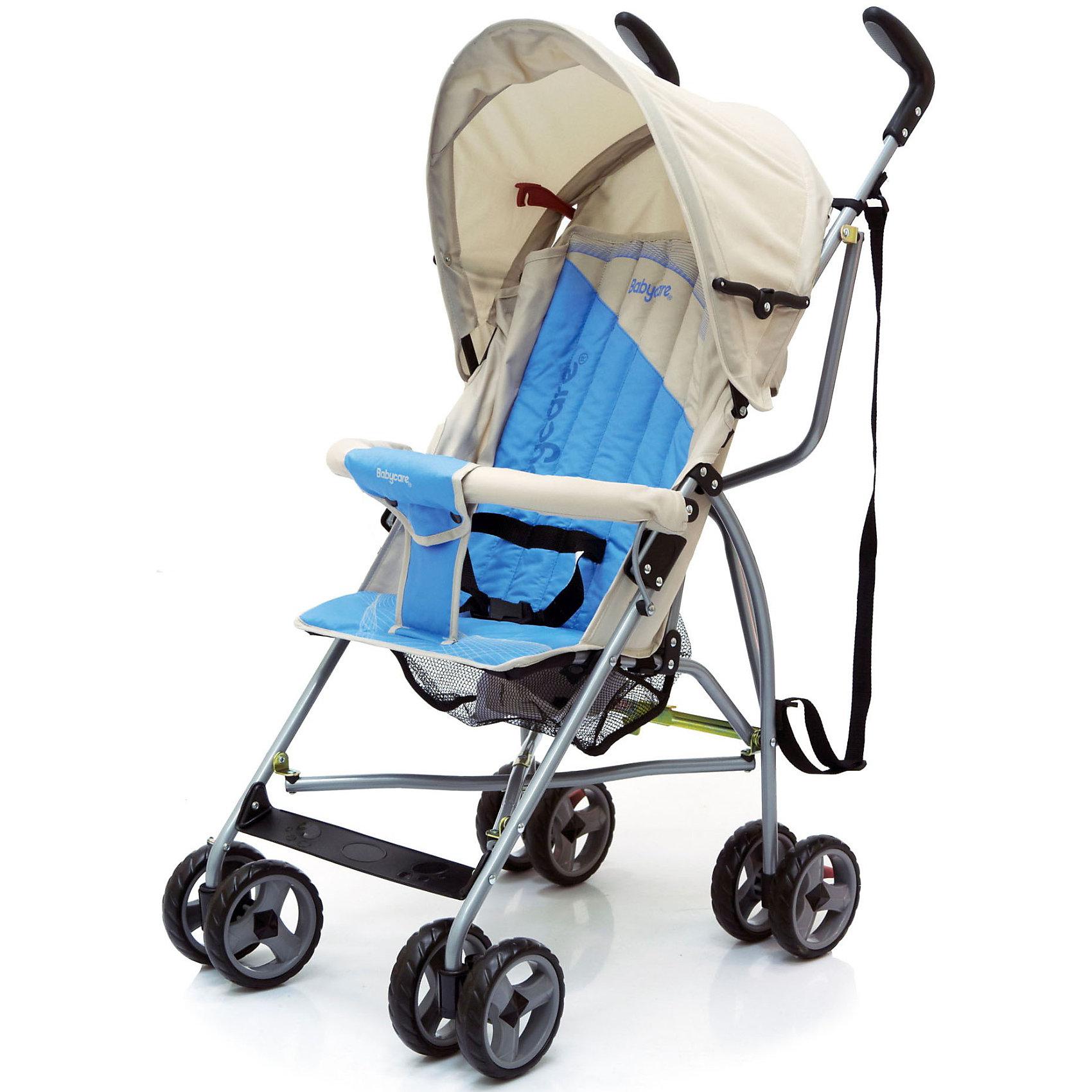 Коляска-трость Vento, Baby Care, светло-серый/голубойКоляска-трость Baby Care Vento  - легкая и маневренная прогулочная коляска, идеальная для путешествий. Благодаря продуманному оригинальному дизайну коляска очень комфортна не только для ребенка но и для мамы.  Колесная база состоит из четырех пар сдвоенных колес, сделанных из пенеплена, тормоза сделаны по последним технологиям в этой сфере. Коляска-трость Vento отличается хорошей маневренностью и проходимостью по любой местности.<br><br>Коляска оснащена удобным сиденьем для малыша с 2-точечными ремнями безопасности, спинка механически раскладывается в 2 положениях: сидя и полулежа. Для большей безопасности ребенка коляска комплектуется  бампером с мягкой обивкой. Сиденье оснащено складывающимся капюшоном с козырьком, который отлично защищает малыша от яркого солнца и ветра. В коляске имеется также просторная корзина для детских принадлежностей или покупок.<br><br>Это  замечательная походная коляска легко и компактно складывается, обладает рекордно малым весом, что позволяют использовать ее во время поездок и путешествий, перевозить в автомобиле и самолете.<br><br>Особенности:<br><br>- плечевой ремень для переноски в сложенном состоянии;<br>- легкая алюминиевая рама;<br>- двухточечные ремни безопасности;<br>- перемычка для ножек не позволяет ребёнку съезжать;<br>- мягкие сдвоенные колеса из искусственной вспененной резины;<br>- передние поворотные колеса;<br>- стояночные тормоза на задних колесах;<br>- легко и быстро складывается. <br>- есть корзина для игрушек;<br>- бампер съемный;<br>    <br>Дополнительная информация:<br><br>- Материал: ткань, аллюминий.<br>- Цвет: светло-серый/голубой.<br>- Глубина сиденья - 21 см.<br>- Высота спинки сиденья: 43,5 см. <br>- Ширина сиденья: 29 см.<br>- Диаметр передних колес: 12 см.<br>- Ширина колесной базы: 44 см.<br>- Размеры коляски: 112 х 33 х 46 см.<br>- Размеры в упаковке: 25 х 30 х 85 см.<br>- Вес: 5 кг.  <br><br>Коляску-трость Vento от Baby Care можно купить в нашем инте