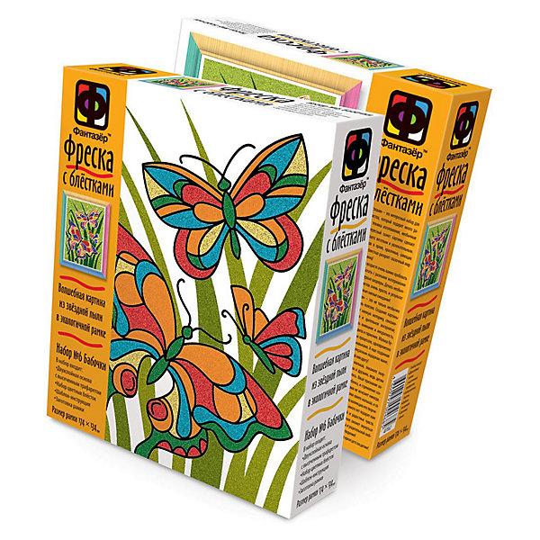 Фреска с блестками Бабочки. ФантазерКартины из песка<br>Набор для творчества Бабочки от Фантазер поможет Вашему ребенку развить свои творческие способности. С помощью основы с трафаретом и цветных блесток можно создать необычную сияющую фреску с изображением нарядных разноцветных бабочек. Картинка украсит комнату ребенка или станет подарком, сделанным собственными руками для его друзей и родственников.<br><br>Дополнительная информация:<br><br>- В комплекте:  двухслойная основа с высеченным трафаретом, набор цветных блесток, шаблон-инструкция, заготовка рамки, кисть, салфетка.<br>- Материал: блестки, дерево, бумага, картон, пленка, пластмасса.<br>- Размер упаковки: 22 x 18,5 x 5 см.<br>- Вес: 0,1 кг.<br><br>Набор способствует развитию мелкой моторики рук, внимания, творческих и художественных способностей ребенка.<br><br>Фреску с блестками Бабочки от Фантазер можно купить в нашем интернет-магазине.<br><br>Ширина мм: 185<br>Глубина мм: 50<br>Высота мм: 220<br>Вес г: 90<br>Возраст от месяцев: 60<br>Возраст до месяцев: 180<br>Пол: Женский<br>Возраст: Детский<br>SKU: 3536441