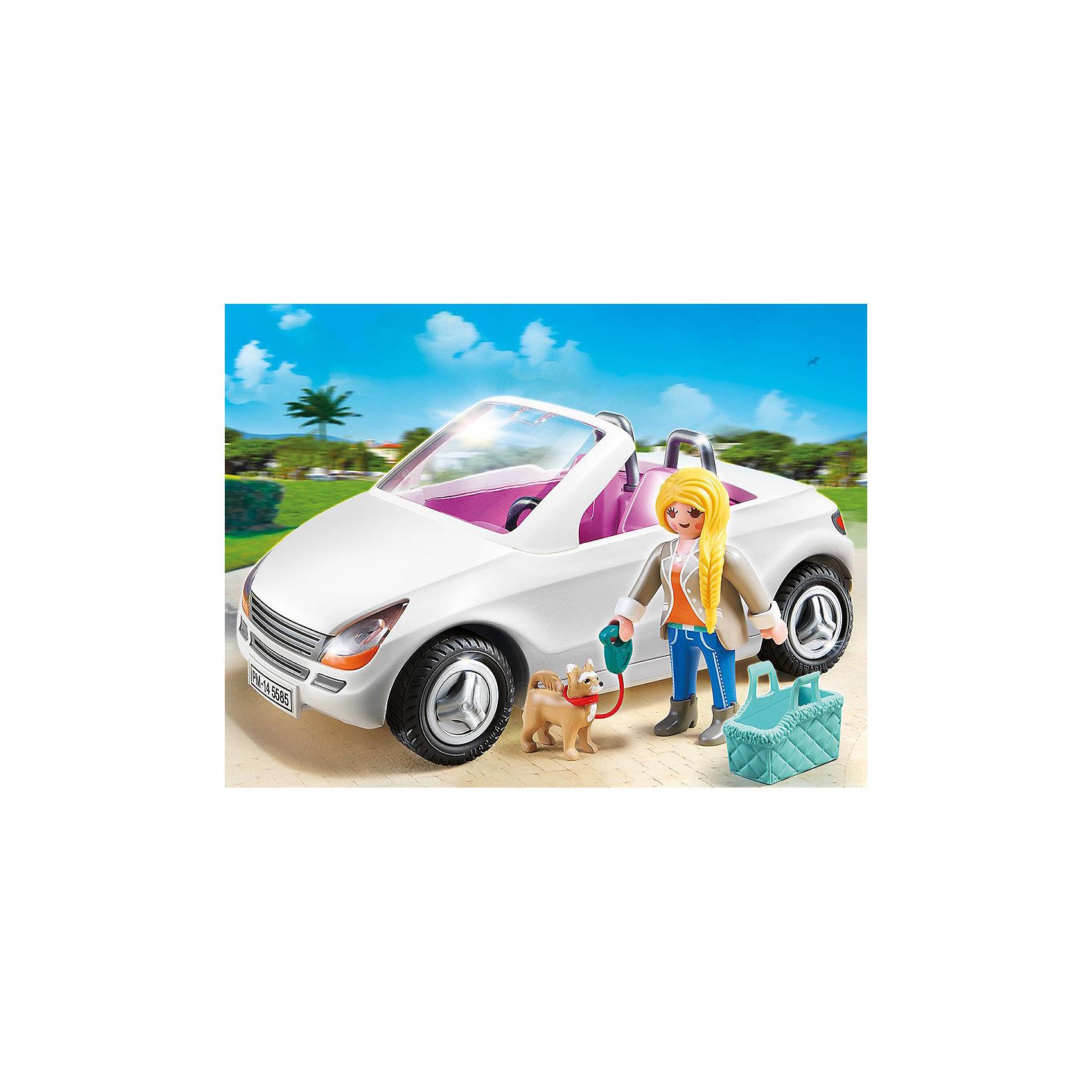 PLAYMOBIL 5585 Особняки: Шикарный кабриолетКонструктор PLAYMOBIL (Плеймобил) 5585 Особняки: Шикарный кабриолет - прекрасная возможность для ребенка проявить свой творческий потенциал! Полезный конструктор для развития Вашего ребенка должен быть именно таким: красочным, безопасным и очень функциональным. Набор Шикарный кабриолет состоит из одной минифигурки девушки и белой машинки с открытым верхом. Обладательница шикарного особняка любит веселые прогулки, но одной путешествовать не так весело. Поэтому девушка берет на прогулку лучшего друга - свою маленькую собачку. Она сажает песика в его удобную переноску и берет с собой в машину. Вместе они отлично прокатятся с ветерком и погуляют в парке. Чтобы собачка не убежала далеко девушка надевает поводок. Создай интересные сюжеты с набором Шикарный кабриолет или объедини его с другими наборами серии и игра станет еще интереснее. Придумывая замечательные сюжеты с деталями конструктора, Ваш ребенок развивает фантазию, учится заботе и просто прекрасно проводит время!<br><br>Дополнительная информация:<br><br>- Конструкторы PLAYMOBIL (Плеймобил) отлично развивают мелкую моторику, фантазию и воображение;<br>- В наборе: 1 минифигурка, кабриолет, сумочка-переноска, собачка, поводок;<br>- Количество деталей: 31 шт;<br>- Материал: безопасный пластик;<br>- Размер минифигурки: 7,5 см;<br>- Размер упаковки: 47,5 х 21,5 х 16,5 см;<br>- Вес: 150 г<br><br>Конструктор PLAYMOBIL (Плеймобил) 5585 Особняки: Шикарный кабриолет можно купить в нашем интернет-магазине.<br><br>Ширина мм: 204<br>Глубина мм: 151<br>Высота мм: 79<br>Вес г: 227<br>Возраст от месяцев: 48<br>Возраст до месяцев: 120<br>Пол: Унисекс<br>Возраст: Детский<br>SKU: 3536832