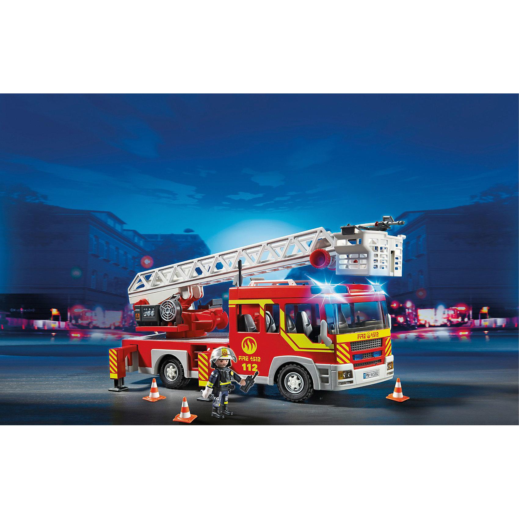 PLAYMOBIL® Пожарная машина с лестницей со светом и звуком, PLAYMOBIL машина пламенный мотор volvo v70 пожарная охрана 870189