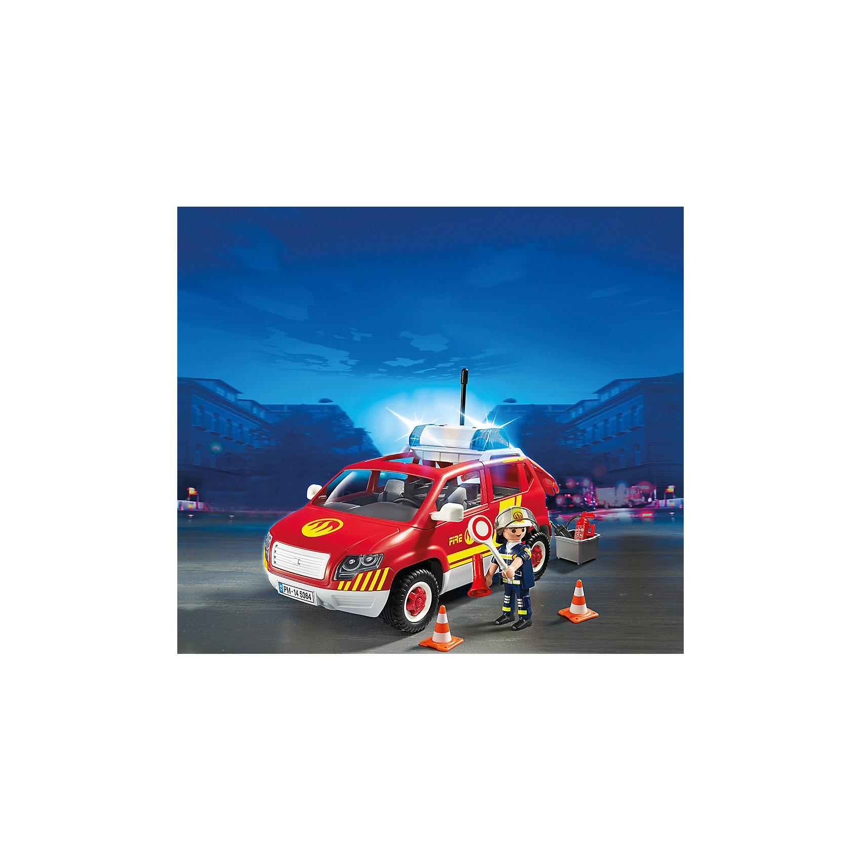 PLAYMOBIL 5364 Пожарная служба: Пожарная машина командира со светом и звукомПластмассовые конструкторы<br>Конструктор PLAYMOBIL (Плеймобил) 5364 Пожарная служба: Пожарная машина командира со светом и звуком - находка для заботливых родителей! Конструктор Вашего ребенка должен быть именно таким: красочным, безопасным и очень интересным. Серия Пожарная служба специально создана для малышей которые не боятся опасности и мечтают помогать другим людям. Пожарные - самая отважная профессия! Настоящий пожарный должен быть смелым, сильным и очень ловким. В наборе Пожарная машина командира со светом и звуком ребенок найдет фигурку командира пожарной команды, одетого в специальную форму и каску. У него очень важная миссии - он координирует работу около места возгорания. Он отдает четкие приказы в рупор и все машины руководствуются его указаниями. В машине командира множество вещей необходимых при такой важной работе: огнетушитель, инструменты, конусы. Его машина оснащена мигалкой, которая позволяет быстро доезжать до места происшествия. Создай интересные сюжеты с набором Пожарная машина командира со светом и звуком или объедини его с другими наборами серии и игра станет еще интереснее. Придумывая замечательные сюжеты с деталями конструктора, Ваш ребенок развивает фантазию, учится заботе и просто прекрасно проводит время!<br><br>Дополнительная информация:<br><br>- Конструкторы PLAYMOBIL (Плеймобил) отлично развивают мелкую моторику, фантазию и воображение;<br>- В наборе: минифигурка командира, машина со светом и звуком, дорожные конусы, рупор, дорожный знак, огнетушитель, аксессуары;<br>- Количество деталей: 38  шт;<br>- Материал: безопасный пластик;<br>- Размер минифигурок: 7,5 см;<br>- Размер упаковки: 25 х 20 х 13 см<br><br>Конструктор PLAYMOBIL (Плеймобил) 5364 Пожарная служба: Пожарная машина командира со светом и звуком можно купить в нашем интернет-магазине.<br><br>Ширина мм: 261<br>Глубина мм: 200<br>Высота мм: 126<br>Вес г: 557<br>Возраст от месяцев: 60<br>Возраст до м