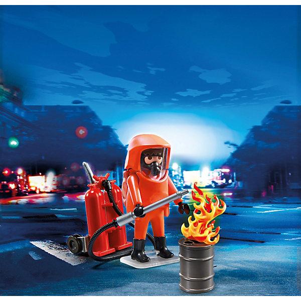 PLAYMOBIL  5367 Пожарная служба: Специальные пожарные силыПластмассовые конструкторы<br>Пожарная служба: Специальные пожарные силы – небольшой и компактный набор, который всегда можно брать с собой. <br>Бывают ситуации, когда простые пожарные не могут справиться с огнем. <br>Он полыхает высоким пламенем, и войти в горящее здание можно только в специальном огнеупорном костюме. <br>Таким тушением может заниматься специально подготовленный пожарный, который не боится большого пламени и уверенно двигается среди раскаленного огня. <br>Игровые наборы Playmobil (Плеймобил) помогут создать интересный игровой момент и надолго привлекут внимание ребенка. <br>Для тушения пожара пожарный надевает оранжевый огнеупорный костюм. <br>Сзади него крепится бак с раствором, который при прохождении через трубку превращается в пену. <br>Огонь таким составом раствора легко тушится. <br>С пеной можно работать в деревянных и бетонных помещениях, она тушит места возгорания, где есть проводка. <br>Конструкторы помогут собрать картинку воедино и осуществить задуманное юным сценаристом.<br>В игровой набор Playmobil входят фигурка пожарного в костюме, огонь в бочке, инструмент для перевозки раствора, шланг и труба.<br>Игрушка знакомит ребенка с новой профессией, объясняет, чем занимаются пожарные. <br>Игры с набором развивают образное мышление и логику, любознательность и внимание.<br><br>PLAYMOBIL  5367 Пожарная служба: Специальные пожарные силы можно купить в нашем магазине.<br><br>Ширина мм: 156<br>Глубина мм: 101<br>Высота мм: 54<br>Вес г: 66<br>Возраст от месяцев: 60<br>Возраст до месяцев: 120<br>Пол: Мужской<br>Возраст: Детский<br>SKU: 3536840