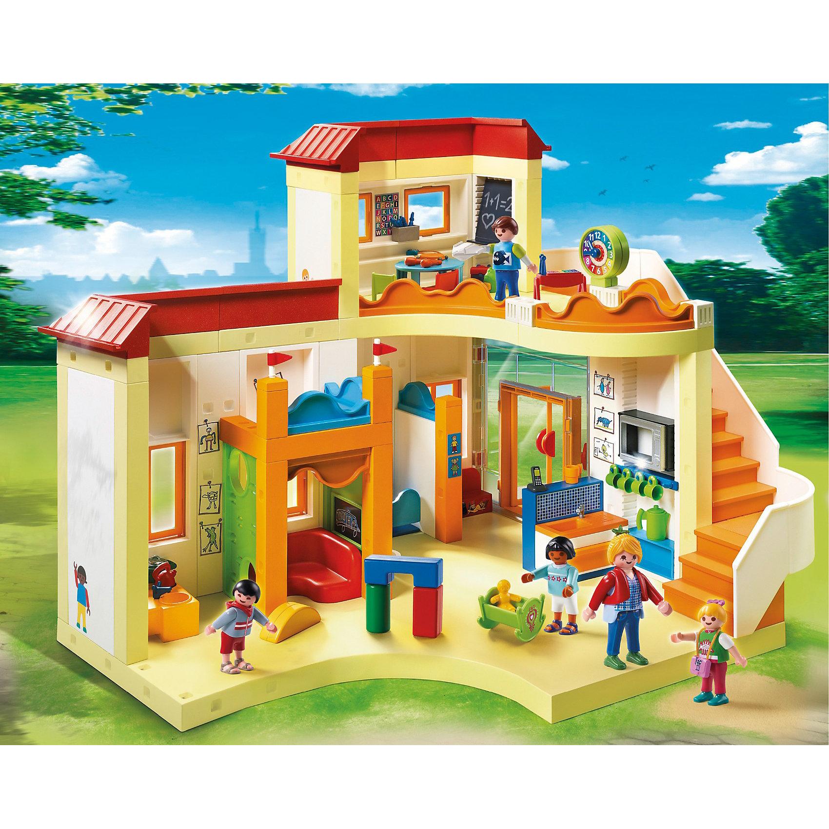Детский сад: Солнышко, PLAYMOBILКонструктор PLAYMOBIL (Плеймобил) 5567 Детский сад: Солнышко - находка для заботливых родителей! Конструктор Вашего крохи должен быть именно таким: красочным, безопасным и очень привлекательным. Серия Детский сад особенно понравится девчонкам, ведь они обожают укачивать, воспитывать и играть с малышами. Дети обожают ходить в детский сад Солнышко - ведь там всегда уютно и очень весело. За четырьмя прекрасными малышами присматривает внимательный воспитатель. На втором этаже сада есть специальная комната для занятий: дети готовятся к школе, пишут буквы на доске и учатся понимать время. Для того чтобы малыши правильно питались предусмотрена кухня с печкой и множеством посуды. Помыть руки перед едой можно в удобной раковине. Ну а больше всего воспитанникам нравится играть с игрушками и слушать музыку, для этого в саду Солнышко даже есть музыкальный салон. Ну а когда малыши утомятся, они могут поспать в детской комнате. Создай интересные сюжеты с набором Детский сад: Солнышко или объедини его с другими наборами серии и игра станет еще интереснее. Придумывая замечательные сюжеты с деталями конструктора, Ваш ребенок развивает фантазию, учится заботе о малышах и просто прекрасно проводит время!<br><br>Дополнительная информация:<br><br>- Конструкторы PLAYMOBIL (Плеймобил) отлично развивают мелкую моторику, фантазию и воображение;<br>- В наборе: 5 минифигурок (1 воспитатель, 4 малыша), двухэтажный детский сад, игрушки, кухня с посудой и множеством аксессуаров, туалет с раковинами, унитазами и аксессуарами, доска, диван, часы, кроватки и дополнительные аксессуары;<br>- Количество деталей: 394 шт;<br>- Материал: безопасный пластик;<br>- Размер минифигурки воспитателей: 7,5 см;<br>- Размер упаковки: 44 х 34 х 34 см<br><br>Конструктор PLAYMOBIL (Плеймобил) 5567 Детский сад: Солнышко можно купить в нашем интернет-магазине.<br><br>Ширина мм: 501<br>Глубина мм: 401<br>Высота мм: 111<br>Вес г: 2634<br>Возраст от месяцев: 48<br>Возраст до месяцев: 120<br