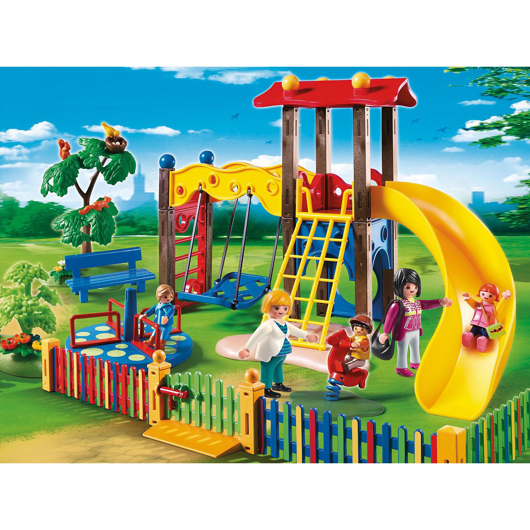 Детский сад: Игровая площадка, PLAYMOBILКонструктор PLAYMOBIL (Плеймобил) 5568 Детский сад: Игровая площадка - находка для заботливых родителей! Конструктор Вашего крохи должен быть именно таким: красочным, безопасным и очень привлекательным. Серия Детский сад особенно понравится девчонкам, ведь они обожают укачивать, воспитывать и играть с малышами. Дети обожают гулять на красочной детской площадке на улице. Здесь в тени деревьев ребята могут покататься на карусели, съехать с горки и конечно же побросать мяч. Площадка огорожена ярким забором, поэтому гулять на ней абсолютно безопасно. За гуляющими малышами присматривают заботливые воспитатели, они рассказывают малышам о природе, жизни и повадках зверей и птиц. Создай интересные сюжеты с набором Игровая площадка или объедини его с другими наборами серии и игра станет еще интереснее. Придумывая замечательные сюжеты с деталями конструктора, Ваш ребенок развивает фантазию учится заботе о малышах и просто прекрасно проводит время!<br><br>Дополнительная информация:<br><br>- Конструкторы PLAYMOBIL (Плеймобил) отлично развивают мелкую моторику, фантазию и воображение;<br>- В наборе: 5 минифигурок (2 воспитателя, 3 малыша), игровой комплекс с горкой, карусель, лавочка, забор, дополнительные аксессуары;<br>- Количество деталей: 116 шт;<br>- Материал: безопасный пластик;<br>- Размер минифигурки воспитателей: 7,5 см;<br>- Размер упаковки: 39,5 х 7,5 х 30 см<br><br>Конструктор PLAYMOBIL (Плеймобил) 5568 Детский сад: Игровая площадка можно купить в нашем интернет-магазине.<br><br>Ширина мм: 387<br>Глубина мм: 284<br>Высота мм: 78<br>Вес г: 705<br>Возраст от месяцев: 48<br>Возраст до месяцев: 120<br>Пол: Унисекс<br>Возраст: Детский<br>SKU: 3536842