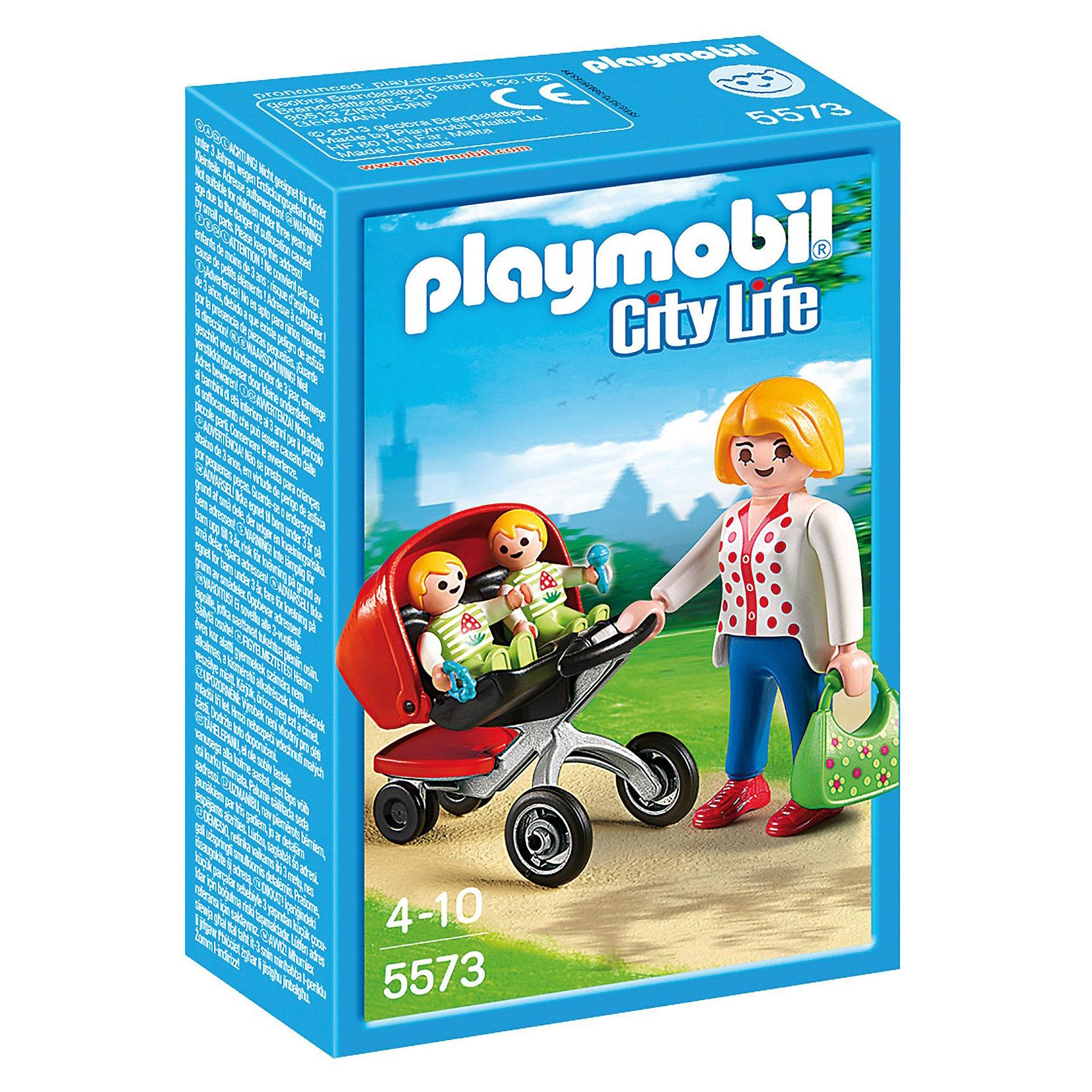 PLAYMOBIL® Детский сад: Мама с близнецами в коляске, PLAYMOBIL playmobil 5266 summer fun детский клуб с танц площадкой