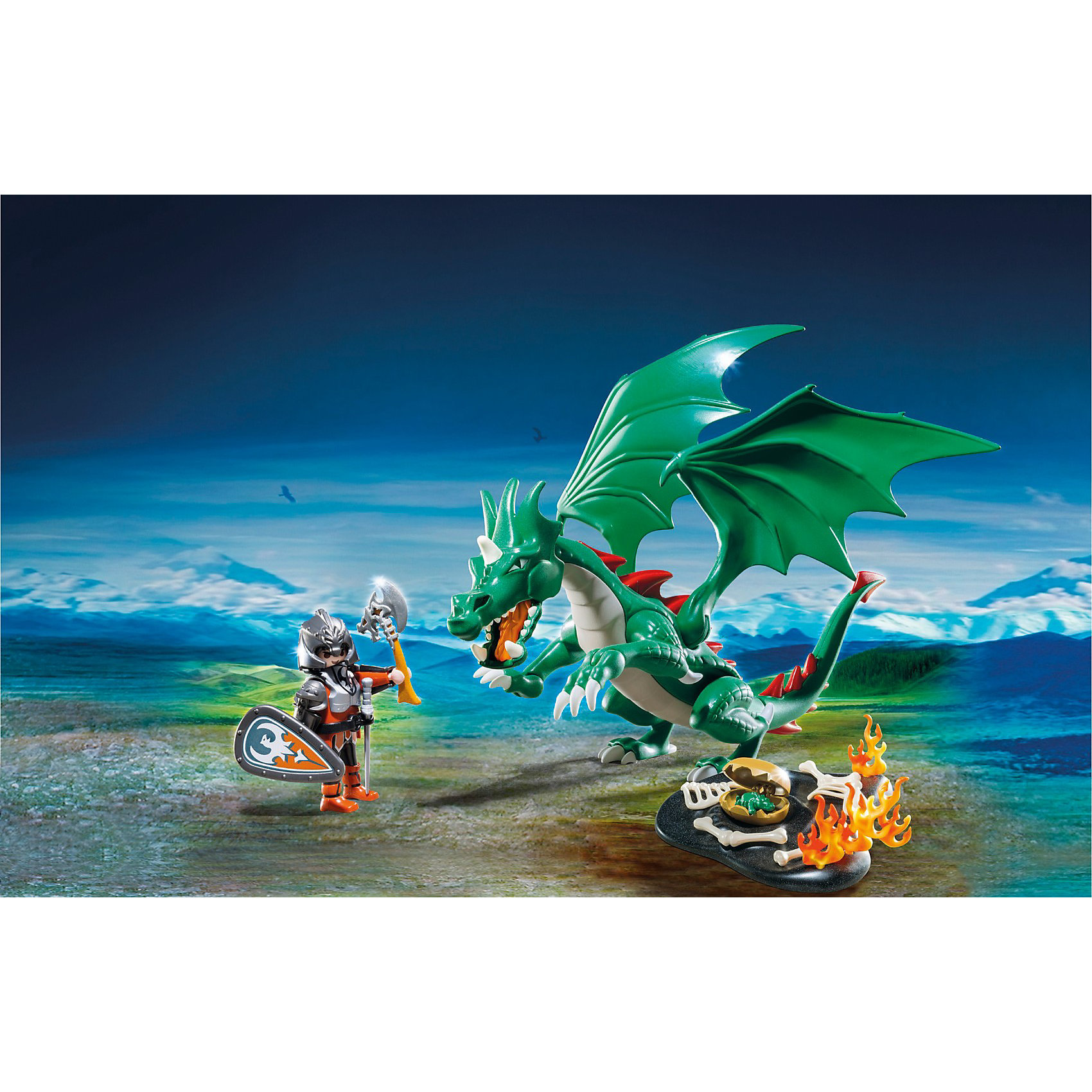 PLAYMOBIL 6003 Рыцари: Великий ДраконДинозавры и драконы<br>Конструктор PLAYMOBIL (Плеймобил) 6003 Рыцари: Великий Дракон - прекрасная возможность для ребенка проявить свою фантазию! Времена доблестных рыцарей, гигантских чудовищ и захватывающих приключений всегда будут для детей очень интересными. Рыцарь заблудился в лесу и случайно наткнулся на гнездо Великого Дракона. В его огромной пасти острые зубы. Уже не один воин погиб в лапах ужасного Дракона. Но рыцарь вооружен и готов сразиться с гигантским чудовищем! Чем закончится этот поединок решать тебе! Хвост, пасть и лапы дракона подвижны, поэтому ребенок сможет создать реалистичную сцену борьбы. Крылья дракона двигаются, а при необходимости их можно снять и рыцарь легко сможет оседлать Дракона! Создай увлекательные сюжеты с набором Великий Дракон или объедини его с другими наборами серии и игра станет еще интереснее. Придумывая увлекательные сюжеты с деталями конструктора, Ваш ребенок развивает фантазию, мышление и просто прекрасно проводит время!<br><br>Дополнительная информация:<br><br>- Конструкторы PLAYMOBIL (Плеймобил) отлично развивают мелкую моторику, фантазию и воображение;<br>- В наборе: дракон, минифигурка рыцаря, яйцо с маленьким драконом внутри, гнездо, кости, щит, меч;<br>- Количество деталей: 23 шт;<br>- Материал: безопасный пластик;<br>- Размер минифигурки: 7,5 см;<br>- Размер упаковки: 20 х 7,5 х 30 см<br><br>Конструктор PLAYMOBIL (Плеймобил) 6003 Рыцари: Великий Дракон можно купить в нашем интернет-магазине.<br><br>Ширина мм: 303<br>Глубина мм: 203<br>Высота мм: 78<br>Вес г: 370<br>Возраст от месяцев: 48<br>Возраст до месяцев: 120<br>Пол: Мужской<br>Возраст: Детский<br>SKU: 3536850