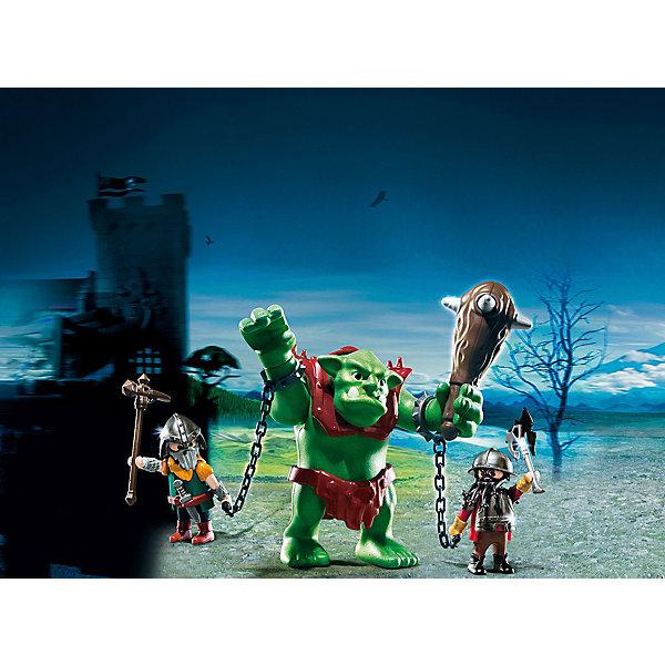 PLAYMOBIL 6004 Рыцари: Гигантский тролль и боевые гномыПластмассовые конструкторы<br>Конструктор PLAYMOBIL (Плеймобил) 6004 Рыцари: Гигантский тролль и боевые гномы - прекрасная возможность для ребенка проявить свою фантазию! Времена доблестных рыцарей, гигантских чудовищ и захватывающих приключений всегда будут для детей очень интересными. Боевые гномы поймали в лесу злодея - гигантского тролля. Огромный тролль вооружен гигантской дубинкой под стать своему хозяину. Но два отважных гнома смогли заковать тролля в кандалы и ведут в темницу! Чем закончится это опасное предприятие решать тебе! Туловище и руки чудовища подвижны, поэтому ребенок сможет представить как тролль сопротивляется своим пленителям. Создай увлекательные сюжеты с набором Гигантский тролль и боевые гномы или объедини его с другими наборами серии и игра станет еще интереснее. Придумывая увлекательные сюжеты с деталями конструктора, Ваш ребенок развивает фантазию, мышление и просто прекрасно проводит время!<br><br>Дополнительная информация:<br><br>- Конструкторы PLAYMOBIL (Плеймобил) отлично развивают мелкую моторику, фантазию и воображение;<br>- В наборе: 2 минифигурки гномов, фигурка тролля, дубинка, оружие, доспехи, кандалы и другие аксессуары;<br>- Количество деталей: 20 шт;<br>- Материал: безопасный пластик;<br>- Размер упаковки: 47,5 х 16,5 х 21,5 см<br><br>Конструктор PLAYMOBIL (Плеймобил) 6004 Рыцари: Гигантский тролль и боевые гномы можно купить в нашем интернет-магазине.<br>Ширина мм: 206; Глубина мм: 152; Высота мм: 76; Вес г: 205; Возраст от месяцев: 48; Возраст до месяцев: 120; Пол: Мужской; Возраст: Детский; SKU: 3536851;