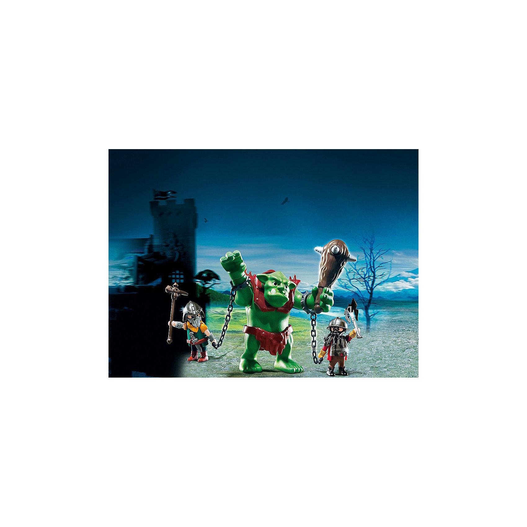 PLAYMOBIL 6004 Рыцари: Гигантский тролль и боевые гномыКонструктор PLAYMOBIL (Плеймобил) 6004 Рыцари: Гигантский тролль и боевые гномы - прекрасная возможность для ребенка проявить свою фантазию! Времена доблестных рыцарей, гигантских чудовищ и захватывающих приключений всегда будут для детей очень интересными. Боевые гномы поймали в лесу злодея - гигантского тролля. Огромный тролль вооружен гигантской дубинкой под стать своему хозяину. Но два отважных гнома смогли заковать тролля в кандалы и ведут в темницу! Чем закончится это опасное предприятие решать тебе! Туловище и руки чудовища подвижны, поэтому ребенок сможет представить как тролль сопротивляется своим пленителям. Создай увлекательные сюжеты с набором Гигантский тролль и боевые гномы или объедини его с другими наборами серии и игра станет еще интереснее. Придумывая увлекательные сюжеты с деталями конструктора, Ваш ребенок развивает фантазию, мышление и просто прекрасно проводит время!<br><br>Дополнительная информация:<br><br>- Конструкторы PLAYMOBIL (Плеймобил) отлично развивают мелкую моторику, фантазию и воображение;<br>- В наборе: 2 минифигурки гномов, фигурка тролля, дубинка, оружие, доспехи, кандалы и другие аксессуары;<br>- Количество деталей: 20 шт;<br>- Материал: безопасный пластик;<br>- Размер упаковки: 47,5 х 16,5 х 21,5 см<br><br>Конструктор PLAYMOBIL (Плеймобил) 6004 Рыцари: Гигантский тролль и боевые гномы можно купить в нашем интернет-магазине.<br><br>Ширина мм: 201<br>Глубина мм: 149<br>Высота мм: 79<br>Вес г: 203<br>Возраст от месяцев: 48<br>Возраст до месяцев: 120<br>Пол: Мужской<br>Возраст: Детский<br>SKU: 3536851
