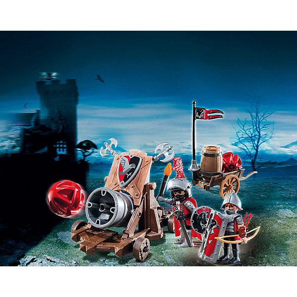Боевая пушка Рыцарей Сокола, PLAYMOBILПластмассовые конструкторы<br>Конструктор PLAYMOBIL (Плеймобил) 6038 Рыцари: Боевая пушка Рыцарей Сокола - прекрасная возможность для ребенка проявить свою фантазию! Времена доблестных рыцарей, прекрасных дам и захватывающих приключений всегда будут для детей очень интересными. В наборе Боевая пушка Рыцарей Сокола ребенок найдет не только пушку со снарядами, но и тележку, лук, шлемы, секиры и многое другое. С таким вооружением два доблестных рыцаря Сокола смогут осадить даже неприступную крепость. Пробей крепостную стену пушечными залпами, порази стрелами врагов засевших на крепостных стенах, отбивайся от лазутчиков с помощью секиры и щита! Возьми крепость штурмом и спаси пленных! Конструктор Боевая пушка Рыцарей Сокола дает ребенку множество игровых возможностей: в него интересно играть как одному, так и вдвоем. Создай увлекательные сюжеты с набором Боевая пушка Рыцарей Сокола или объедини его с другими наборами серии и игра станет еще интереснее. Придумывая увлекательные сюжеты с деталями конструктора, Ваш ребенок развивает фантазию, мышление и просто прекрасно проводит время!<br><br>Дополнительная информация:<br><br>- Конструкторы PLAYMOBIL (Плеймобил) отлично развивают мелкую моторику, фантазию и воображение;<br>- В наборе: 2 минифигурки рыцарей, пушка, шлемы, плащ, горелка, меч, 3 щита, 2 секиры, лук, колчан со стрелами, копье, 2 пушечных ядра, тележка;<br>- Количество деталей: 40 шт;<br>- Материал: безопасный пластик;<br>- Размер минифигурок: 7,5 см;<br>- Размер упаковки: 25 х 7,5 х 20 см<br><br>Конструктор PLAYMOBIL (Плеймобил) 6038 Рыцари: Боевая пушка Рыцарей Сокола можно купить в нашем интернет-магазине.<br><br>Ширина мм: 256<br>Глубина мм: 203<br>Высота мм: 83<br>Вес г: 321<br>Возраст от месяцев: 48<br>Возраст до месяцев: 120<br>Пол: Мужской<br>Возраст: Детский<br>SKU: 3536854