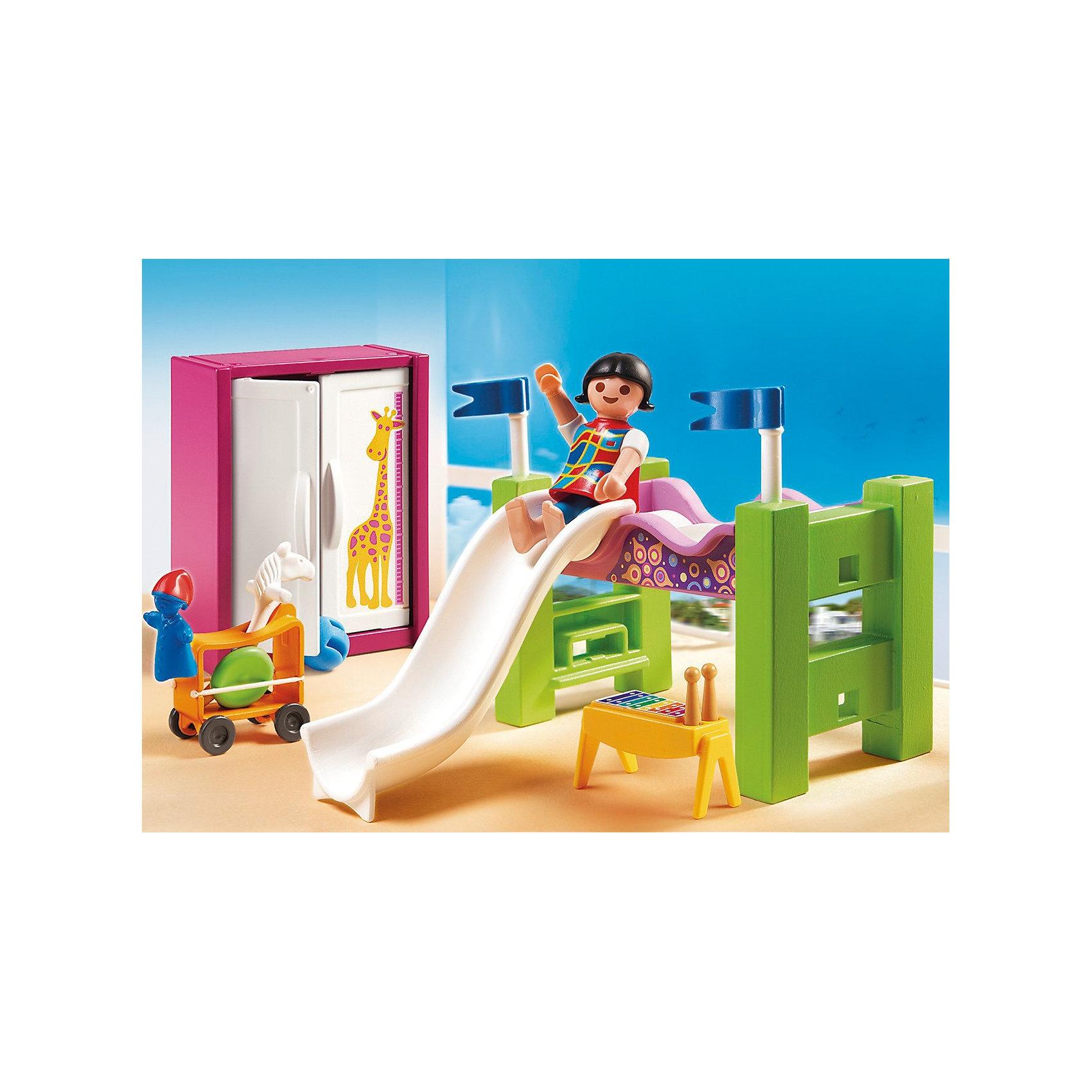 PLAYMOBIL 5579 Особняки: Детская комната с двухъярусной кроватью-горкойКонструктор PLAYMOBIL (Плеймобил) 5579 Особняки: Детская комната с двухъярусной кроватью-горкой - прекрасная возможность для ребенка проявить свой творческий потенциал! Полезный конструктор для развития Вашего ребенка должен быть именно таким: красочным, безопасным и очень функциональным. Набор Детская комната с двухъярусной кроватью-горкой состоит из одной минифигурки и множества замечательных и стильных предметов интерьера и игрушек. Как и любая детская, эта комната полна веселья и приключений: еще радостнее вставать утром, если можно съехать с горки прямо с кровати! Ребенку понравится расставлять мебель и игрушки на полках и разыгрывать интересные сценки из жизни. Конструктор Детская комната с двухъярусной кроватью-горкой просто находка для обладателя кукольного домика, ведь мебелью можно обставить одну из его комнат. Расставляя мебель и убирая игрушки ребенок будет учиться аккуратности и Вы не заметите, как малыш начнет наводить порядок в своей собственной комнате. Прививайте ребенку хороший вкус с помощью конструктора PLAYMOBIL (Плеймобил) 5579 Особняки: Детская комната с двухъярусной кроватью-горкой!<br><br>Дополнительная информация:<br><br>- Конструкторы PLAYMOBIL (Плеймобил) отлично развивают мелкую моторику, фантазию и воображение;<br>- В наборе: 1 минифигурка, двухъярусная кровать, игрушки, шкаф;<br>- Количество деталей: 28 шт;<br>- Можно использовать для кукольного домика;<br>- Материал: безопасный пластик;<br>- Размер минифигурки: 5,2 см;<br>- Размер упаковки: 20 х 15 х 5,2 см;<br>- Вес: 141 г<br><br>Конструктор PLAYMOBIL (Плеймобил) 5579 Особняки: Детская комната с двухъярусной кроватью-горкой можно купить в нашем интернет-магазине.<br><br>Ширина мм: 202<br>Глубина мм: 149<br>Высота мм: 56<br>Вес г: 148<br>Возраст от месяцев: 48<br>Возраст до месяцев: 120<br>Пол: Женский<br>Возраст: Детский<br>SKU: 3536871