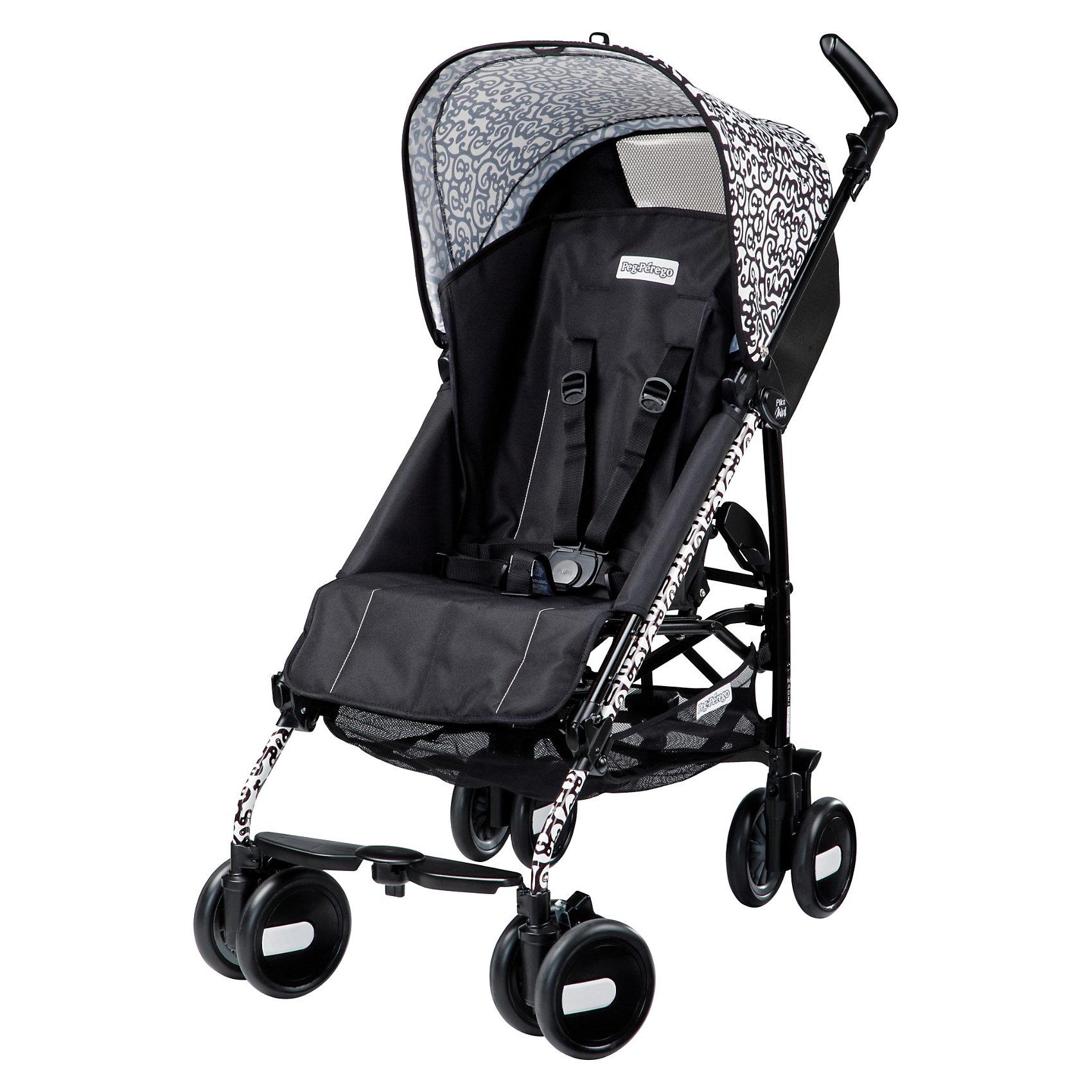 Коляска-трость Pliko Mini с бампером, Peg-Perego, GhiroКоляска-трость Pliko Mini, Peg-Perego - компактная прогулочная коляска с небольшими габаритами, которая отвечает всем требованиям комфорта и безопасности малыша. Очень практична для использования в любой ситуации. Коляска оснащена удобным для ребенка сиденьем с мягкими 5- точечными ремнями безопасности. Дополнительно можно приобрести мягкий съемный бампер (отдельно бампер без коляски не продается!). Спинка легко раскладывается в 3 положениях вплоть до горизонтального. Опора для ножек регулируется, что обеспечивает<br>малышу правильную осанку. Большой капюшон со смотровым окном защитит от солнца и дождя.  <br><br>Для родителей предусмотрены удобные ручки и вместительная корзина для принадлежностей малыша. Коляска оснащена 4 двойными колесами (передние - поворотные с возможностью фиксации, задние - с тормозом). Благодаря узкой колесной базе коляска без труда преодолевает<br>даже самые узкие проемы дверей, лифтов и турникетов. Легко и компактно складывается тростью, что позволяет использовать ее во время поездок и путешествий. Обивку можно снимать и стирать. Подходит для детей от 6 мес. до 3 лет.<br><br><br>Особенности:<br><br>- удобна для транспортировки и хранения;<br>- объемный капюшон от солнца и дождя;<br>- спинка сиденья регулируется 3 положениях;<br>- регулируемая подножка; <br>- корзина для вещей ребенка;<br>- передние поворотные колеса с возможностью фиксации;<br>- узкая колесная база;<br>- легко и компактно складывается тростью.<br><br><br>Дополнительная информация:<br><br>- Цвет: черный с рисунком.<br>- Материал: текстиль, металл, пластик.<br>- Диаметр колес: 14,6 см.<br>- Максимальная длина спального места: 87 см.<br>- Размер в разложенном виде: 84 х 50 х 101 см.<br>- Размер в сложенном виде: 34 х 32 х 94 см.<br>- Вес: 5,7 кг.<br><br>Коляску-трость Pliko Mini + бампер передний, Peg-Perego, черный с рисунком, можно купить в нашем интернет-магазине.<br><br>Ширина мм: 1005<br>Глубина мм: 285<br>Высота мм: 
