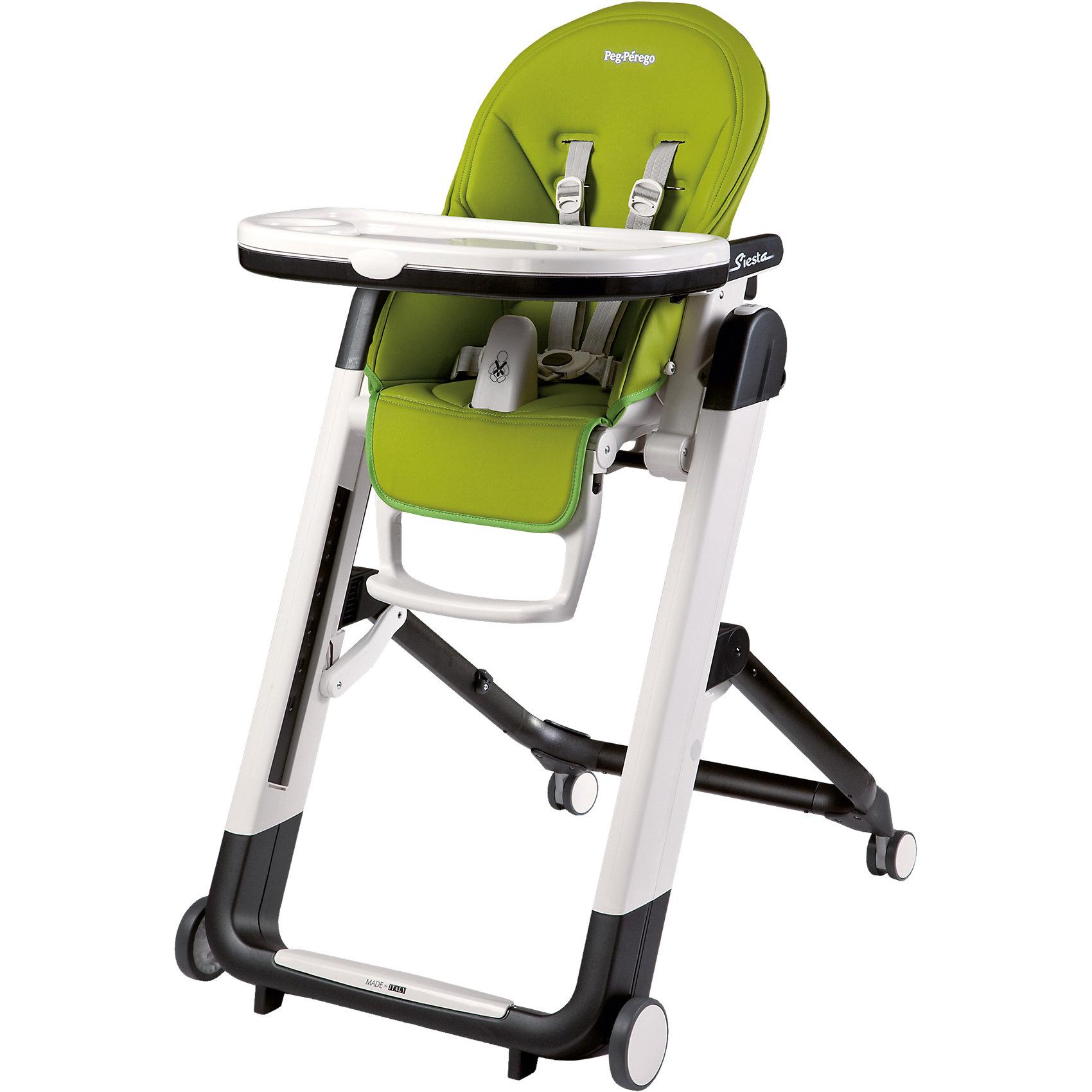 Стульчик для кормления Siesta Mela, Peg-Perego, зеленыйСтульчики для кормления<br>Удобный и функциональный стульчик Siesta, Peg-Perego, обеспечит комфорт и безопасность Вашего малыша во время кормления. Спинка сиденья легко регулируется в 5 положениях (вплоть до горизонтального), что позволяет использовать стульчик как для кормления так и для игр и сна. Широкое и эргономичное мягкое сиденье будет удобно как малышу, так и ребенку постарше. Стульчик оснащен регулируемыми 5-точечными ремнями безопасности, а планка-разделитель для ножек под столиком не даст малышу соскользнуть. Высота стула регулируется в 9 положениях (от 33 до 65 см. от пола). Подножка регулируется в 3 позициях, позволяя выбрать оптимальное для ребенка положение. На задней части спинки размещается сетка для мелочей.<br>Широкий съемный столик оснащен подносом с отделениями для кружки или стакана, поднос можно снять для быстрой чистки и использовать основную поверхность для игр и занятий. Для детей постарше стул можно использовать без столика для кормления, придвинув его к столу для взрослых. Ножки оснащены колесиками с блокираторами, что позволяет легко перемещать стульчик по комнате. Кожаный чехол легко снимается для чистки. Стульчик легко и компактно складывается и занимает мало места при хранении. Подходит для детей в возрасте от 0 месяцев до 3 лет.<br><br>Дополнительная информация:<br>- Цвет: зеленый.<br>- Материал: пластик, эко-кожа.<br>- Высота спинки сиденья: 44 см.<br>- Ширина сиденья: 27 см.<br>- Размер в разложенном состоянии: 60 х 75 х 104,5 см. <br>- Размер в сложенном состоянии: 60 х 35 х 89 cм. <br>- Вес: 7,6 кг.<br><br>Стульчик для кормления Siesta Mela, Peg-Perego, зеленый, можно купить в нашем интернет-магазине.<br><br>Ширина мм: 900<br>Глубина мм: 620<br>Высота мм: 300<br>Вес г: 13120<br>Цвет: зеленый<br>Возраст от месяцев: 0<br>Возраст до месяцев: 36<br>Пол: Унисекс<br>Возраст: Детский<br>SKU: 3537392