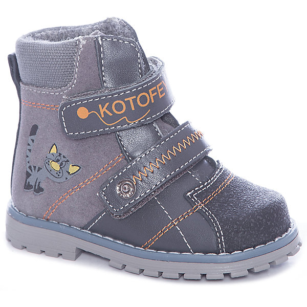 Ботинки для мальчика КотофейБотинки<br>Стильные ботинки из натуральной кожи от известного бренда Котофей для мальчика. Изделие предназначено для использования при температуре воздуха выше 0 градусов и обладает следующими особенностями:<br>- темно-серый цвет;<br>- 2 ремешка на велкро;<br>- усиленный противоударный мыс;<br>- укрепленный задник, надежно фиксирующий пятку;<br>- теплая байковая подкладка;<br>- съемная стелька;<br>- легкая нескользящая подошва с анатомическим каблуком (около 8 мм)<br><br>Состав:<br>верх: нат. кожа<br>подкладка: байка<br>подошва: ТЭП<br><br>Ширина мм: 262<br>Глубина мм: 176<br>Высота мм: 97<br>Вес г: 427<br>Цвет: серый<br>Возраст от месяцев: 18<br>Возраст до месяцев: 21<br>Пол: Мужской<br>Возраст: Детский<br>Размер: 23,25,24,22,21,26<br>SKU: 3538425