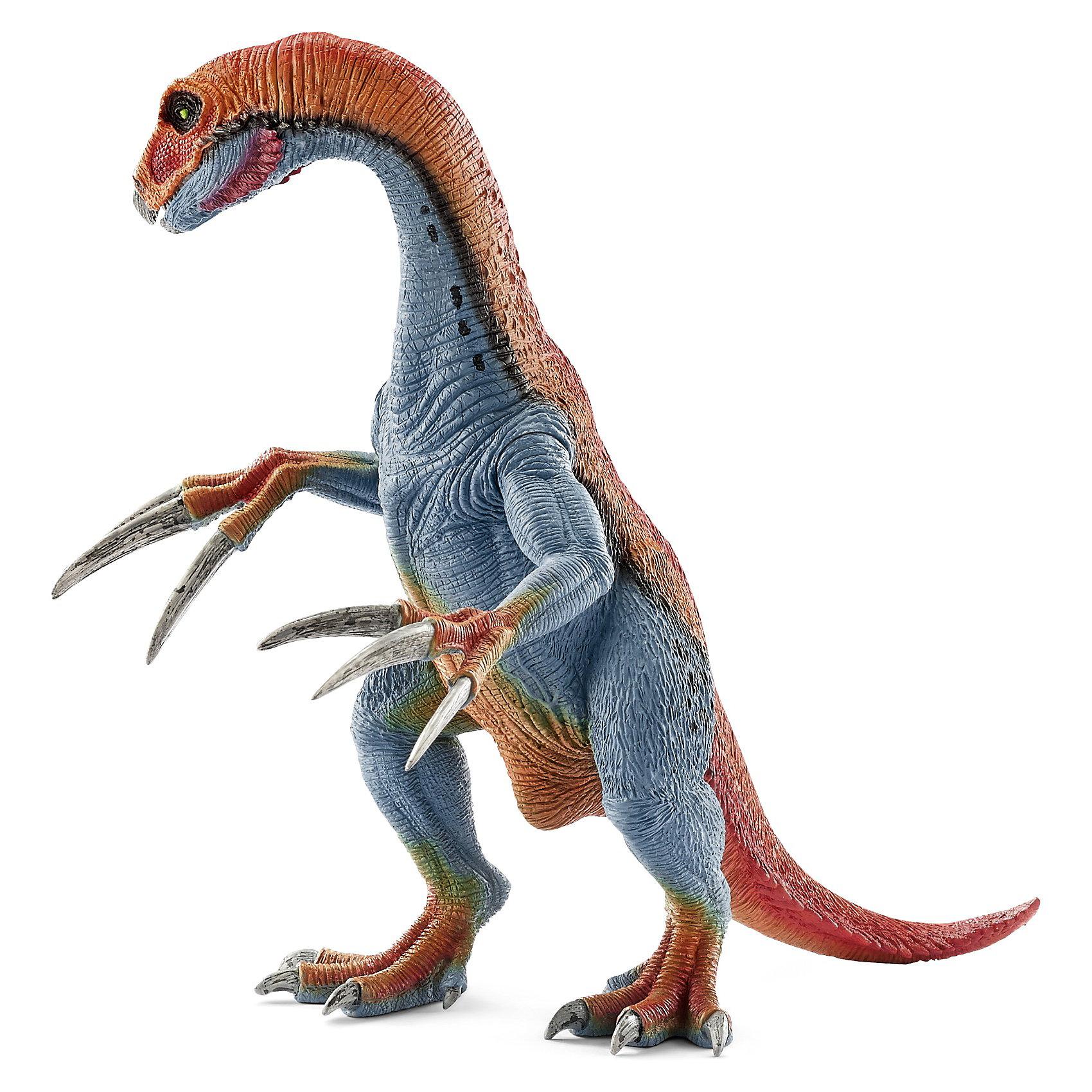 Теризинозавр, SchleichТеризинозавр -огромный (до 9-12 метров в длину) динозавр, живший на Земле около70 млн. лет назад. Его отличительной особенностью были огромные когти, длина которых составляла половину роста взрослого человека.<br>Предназначение когтей неизвестно, однако ученые полагают, что динозавр использовал их для самообороны.<br>Фигурка динозавра имеет подвижные когти и нижняя челюсть, благодаря чему игра станет еще интереснее и увлекательнее.<br><br>Дополнительная информация:<br><br>- Размеры: 19,5 x 13,5 x 19,5 см<br>- Материал: каучуковый пластик<br><br>Фигурку Теризинозавра, Schleich (Шляйх) можно купить в нашем магазине.<br><br>Ширина мм: 263<br>Глубина мм: 144<br>Высота мм: 129<br>Вес г: 287<br>Возраст от месяцев: 36<br>Возраст до месяцев: 96<br>Пол: Мужской<br>Возраст: Детский<br>SKU: 3539482