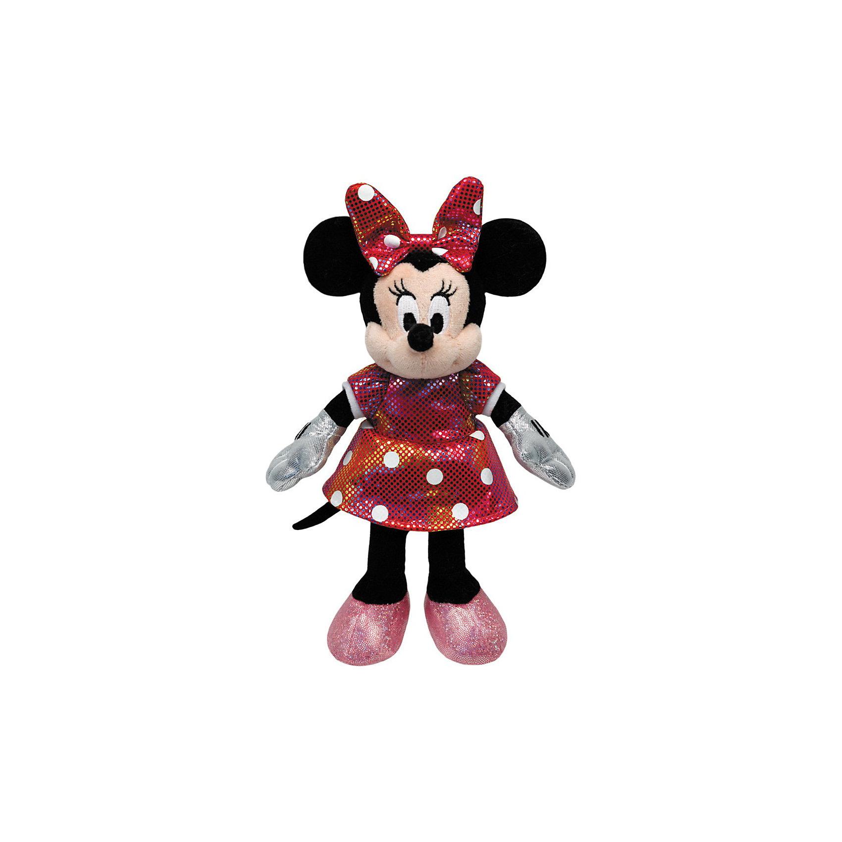Минни Маус в разноцветном платье, со звуком, 20 см,  TyМинни Маус в разноцветном платье, Disney Sparkle Minnie - очаровательная мягкая игрушка, которая обязательно порадует Вашу девочку. Мышка Минни - героиня диснеевских мультфильмов о мышонке Микки-Маусе, внешний вид игрушка полностью повторяет свой персонаж из мультфильма. Мышка Минни выполнена из мягкого, приятного на ощупь материала, одета в красивое разноцветное платье. Имеются звуковые эффекты, если нажать Минни на грудку, она пропоет веселую песенку. Гипоаллергенная ткань совершенно безопасна для детей. <br><br>Дополнительная информация:<br><br>- Материал: текстиль.<br>- Размер игрушки: 20 см.<br>- Размер упаковки: 10 х 13 х 20,3 см.<br>- Вес: 0,15 кг. <br><br>Мягкую игрушку Минни Маус в разноцветном платье, Disney Sparkle Minnie (Minnie Mouse) можно купить в нашем интернет-магазине.<br><br>Ширина мм: 107<br>Глубина мм: 149<br>Высота мм: 110<br>Вес г: 68<br>Возраст от месяцев: 0<br>Возраст до месяцев: 84<br>Пол: Женский<br>Возраст: Детский<br>SKU: 3540254