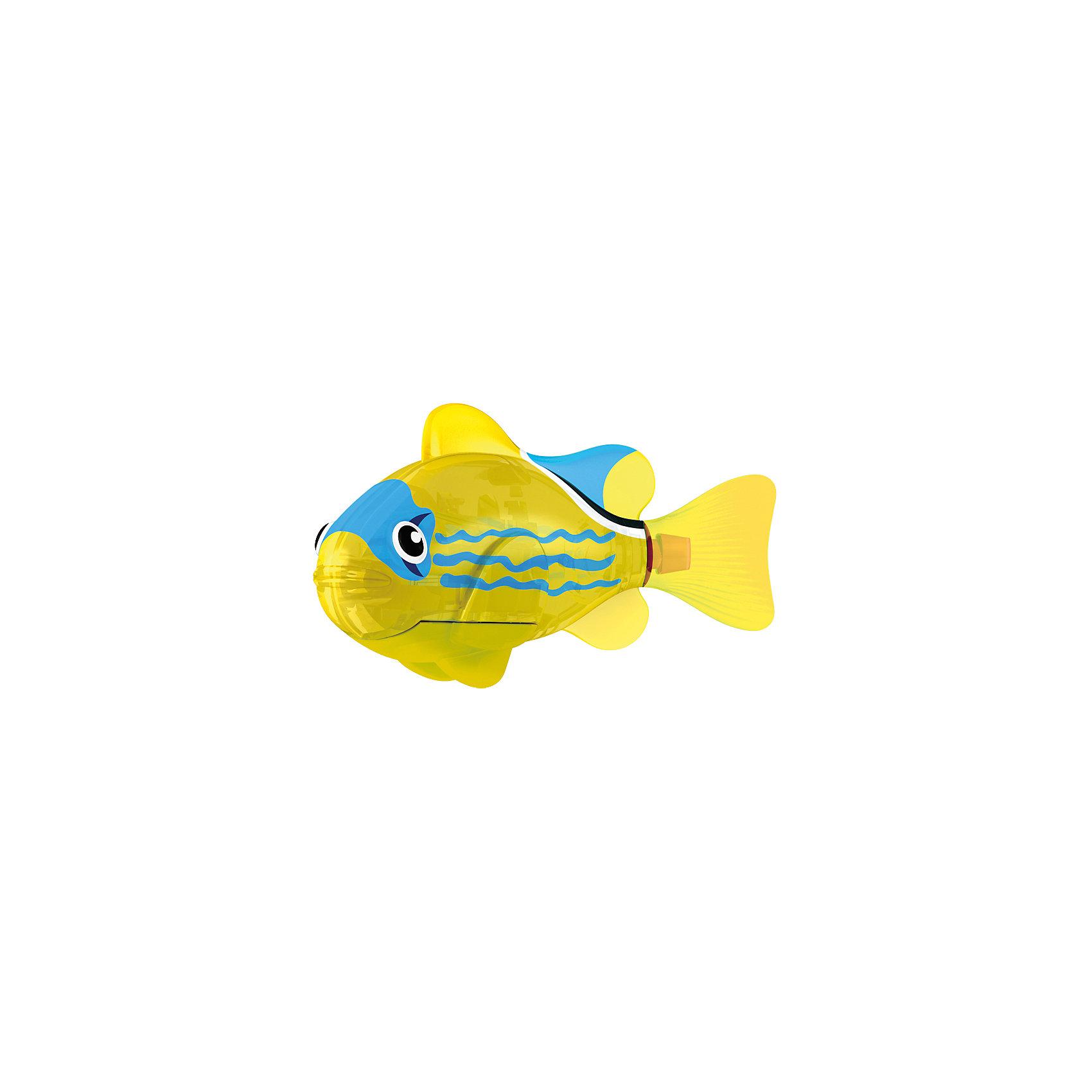 РобоРыбка светодиодная  Желтый фонарь, RoboFishРоборыбки и русалки<br>РобоРыбка светодиодная Желтый Фонарь, RoboFish (РобоФиш) - это инновационная рыбка, которая при соприкосновении с водой начинает не только плавать как живая, но и светиться.  <br><br>Симпатичная РобоРыбка с весёлым окрасом в виде чёрных и синих элементов на жёлтом фоне, как и другие рыбки светящейся серии, оснащается специальным маленьким светодиодом внутри, который красиво светится жёлтым светом. Интересней всего это смотрится тогда, когда в аквариуме будут находиться ещё и другие модели светящихся рыбок. Мягкий силиконовый хвост и электромагнитный мотор помогают рыбкам двигаться в 5 различных направлениях. Игрушка плавает в воде в течение 4-4,5 минут, после чего ее можно вынуть из воды, и снова опустить в воду, чтобы рыбка заработала снова.<br><br>Комплектация: РобоРыбка, 4 батарейки, подставка<br><br>Дополнительная информация:<br><br>-Длина игрушки: около 7 см, высота: 3,5 см   <br>-Работает от 2х батареек типа А76 или RL44 (есть в комплекте 4 шт.)<br>-Материалы: силикон, пластмасса<br><br>Не знаете чем удивить своего ребенка? Подарите ему светящуюся РобоРыбку! РобоРыбки не только плавают в воде, но и светятся!<br><br>РобоРыбку светодиодную Желтый Фонарь, RoboFish (РобоФиш) можно купить в нашем магазине.<br><br>Ширина мм: 60<br>Глубина мм: 200<br>Высота мм: 50<br>Вес г: 90<br>Возраст от месяцев: 60<br>Возраст до месяцев: 144<br>Пол: Унисекс<br>Возраст: Детский<br>SKU: 3544548