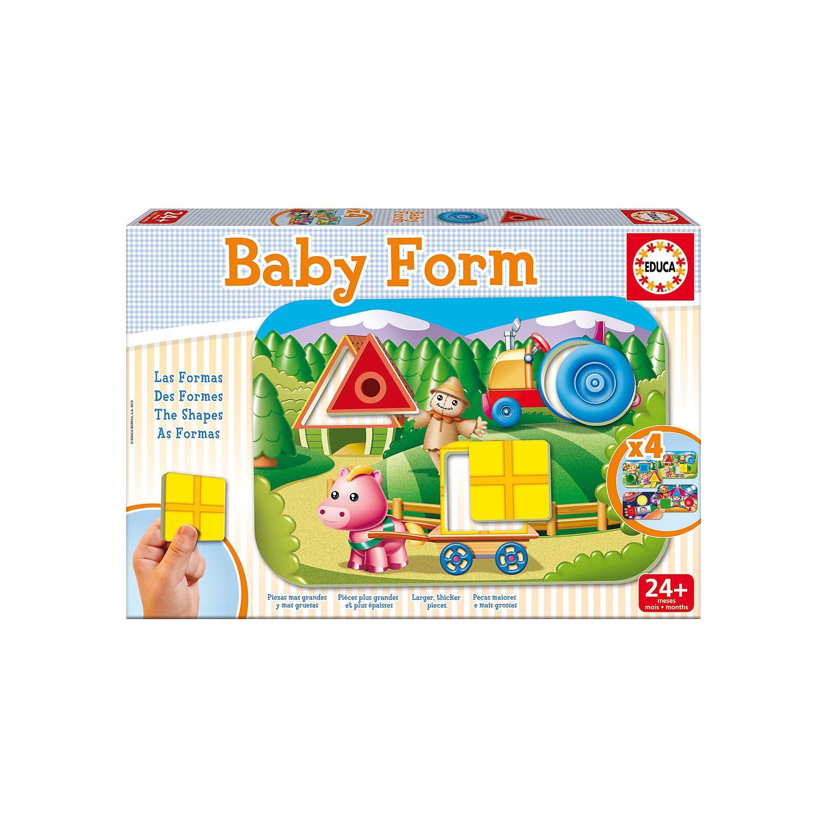 Игра-пазл Формы, EducaПазлы для малышей<br>Игра-пазл Формы, Educa<br><br>Характеристики:<br><br>• Количество деталей: 12 шт.<br>• Размер упаковки: 31 * 4,5 * 21 см.<br>• Состав: картон<br>• Вес: 660 гр.<br>• Для детей в возрасте: от 2 до 4 лет<br>• Страна производитель: Испания<br><br>Набор головоломок от испанской компании Educa (Эдука), специализирующейся на производстве высококачественных пазлов. Четыре интересные детские картинки с формами круга, квадрата и треугольника помогут развивать логическое мышление, узнавать новое и отлично проводить время. Треугольники, квадраты и круги от одних картинок можно вставлять в другие, создавая новые варианты. <br><br>Игра-пазл Формы, Educa можно купить в нашем интернет-магазине.<br><br>Ширина мм: 320<br>Глубина мм: 222<br>Высота мм: 50<br>Вес г: 650<br>Возраст от месяцев: 24<br>Возраст до месяцев: 48<br>Пол: Унисекс<br>Возраст: Детский<br>Количество деталей: 3<br>SKU: 3546198