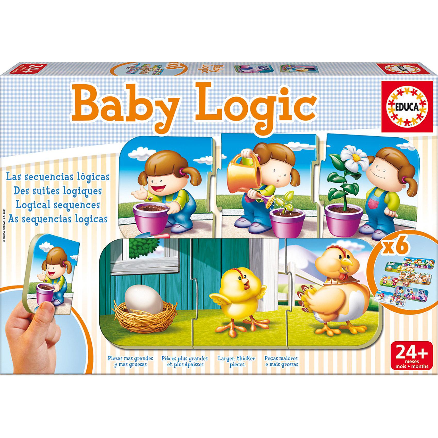 Игра-пазл Логика, EducaПазлы для малышей<br>Игра-пазл Логика, Educa<br><br>Характеристики:<br><br>• В набор входит: 6 пазлов по 3 детали<br>• Количество деталей: 12 шт.<br>• Размер упаковки: 31 * 4,5 * 21 см.<br>• Состав: картон<br>• Вес: 700 г.<br>• Для детей в возрасте: от 2 до 4 лет<br>• Страна производитель: Испания<br><br>Крупные детали пазла отлично собираются, ребёнок сможет обучаться основам логики, подбирая детали по ситуациям. Шесть логически последовательных историй, таких как вылупление птенца, рост растения, появление радуги и не только, представлены в этом наборе. Собирая пазл можно расширить кругозор и воображение малыша.<br><br>Игру-пазл Логика, Educa можно купить в нашем интернет-магазине.<br><br>Ширина мм: 317<br>Глубина мм: 223<br>Высота мм: 48<br>Вес г: 645<br>Возраст от месяцев: 24<br>Возраст до месяцев: 48<br>Пол: Унисекс<br>Возраст: Детский<br>Количество деталей: 3<br>SKU: 3546200