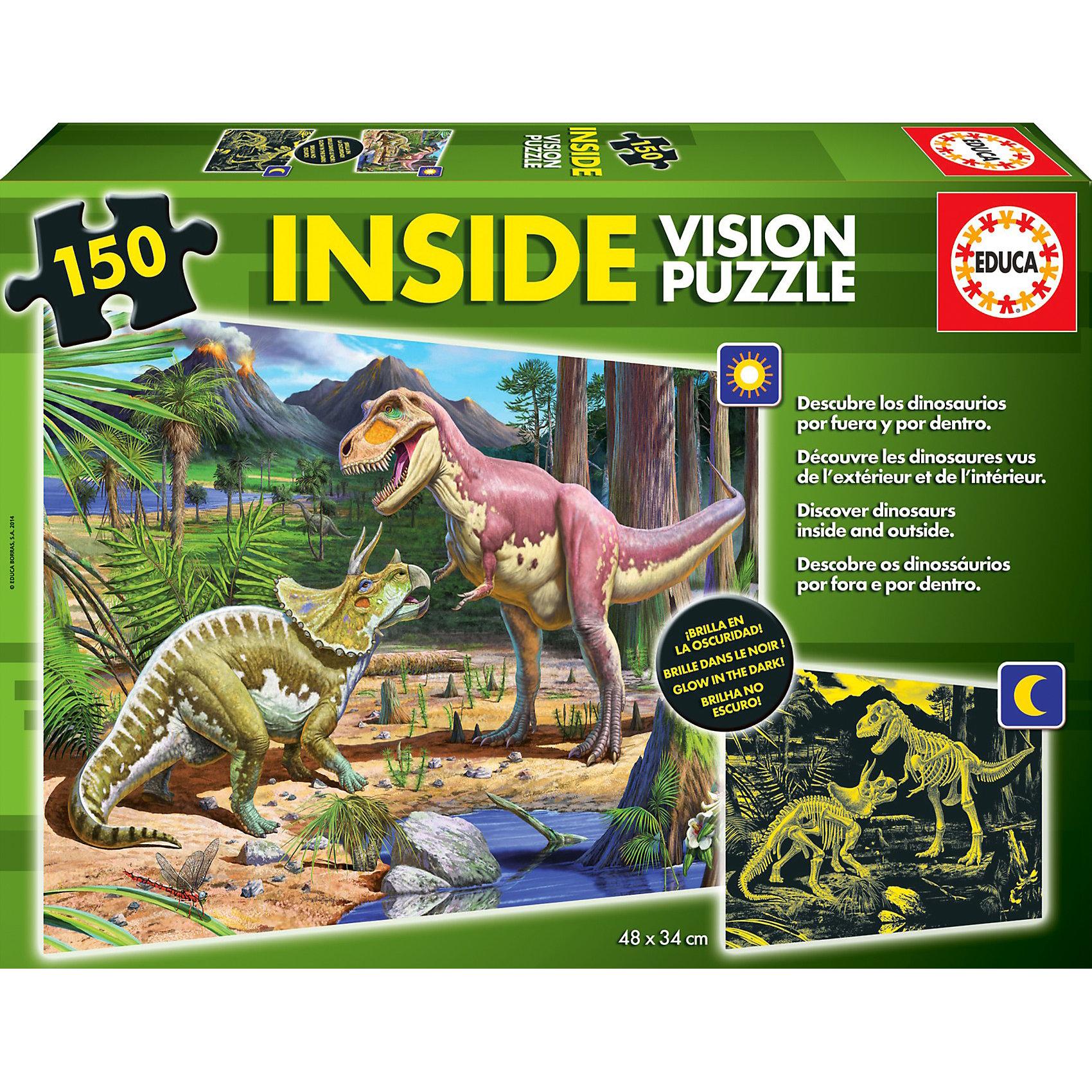 Пазл с люминисцентным свечением в темноте Динозавры, 150 деталей, EducaПазлы для малышей<br>Пазл с люминисцентным свечением в темноте Динозавры, 150 деталей, Educa<br><br>Характеристики:<br><br>• Количество деталей: 150 шт.<br>• Размер упаковки: 35 * 5,5 * 25 см.<br>Размер собранного пазла: 48 * 34 см.<br>• Состав: картон<br>• Вес: 500 г.<br>• Для детей в возрасте: от 6 до 8 лет<br>• Страна производитель: Испания<br><br>Два динозавра в своей естественной среде обитания занимаются своими обычными делами, но при наступлении темноты можно увидеть их скелеты! Этот необычный пазл приведёт в восторг фанатов динозавров и даст им новую нелегкую задачу по сборке этого пазла. Ребёнок сможет расширить свой кругозор и увеличить словарный запас, работая с этим пазлом.<br><br>Пазл с люминисцентным свечением в темноте Динозавры, 150 деталей, Educa можно купить в нашем интернет-магазине.<br><br>Ширина мм: 358<br>Глубина мм: 263<br>Высота мм: 58<br>Вес г: 499<br>Возраст от месяцев: 72<br>Возраст до месяцев: 96<br>Пол: Унисекс<br>Возраст: Детский<br>Количество деталей: 150<br>SKU: 3546239
