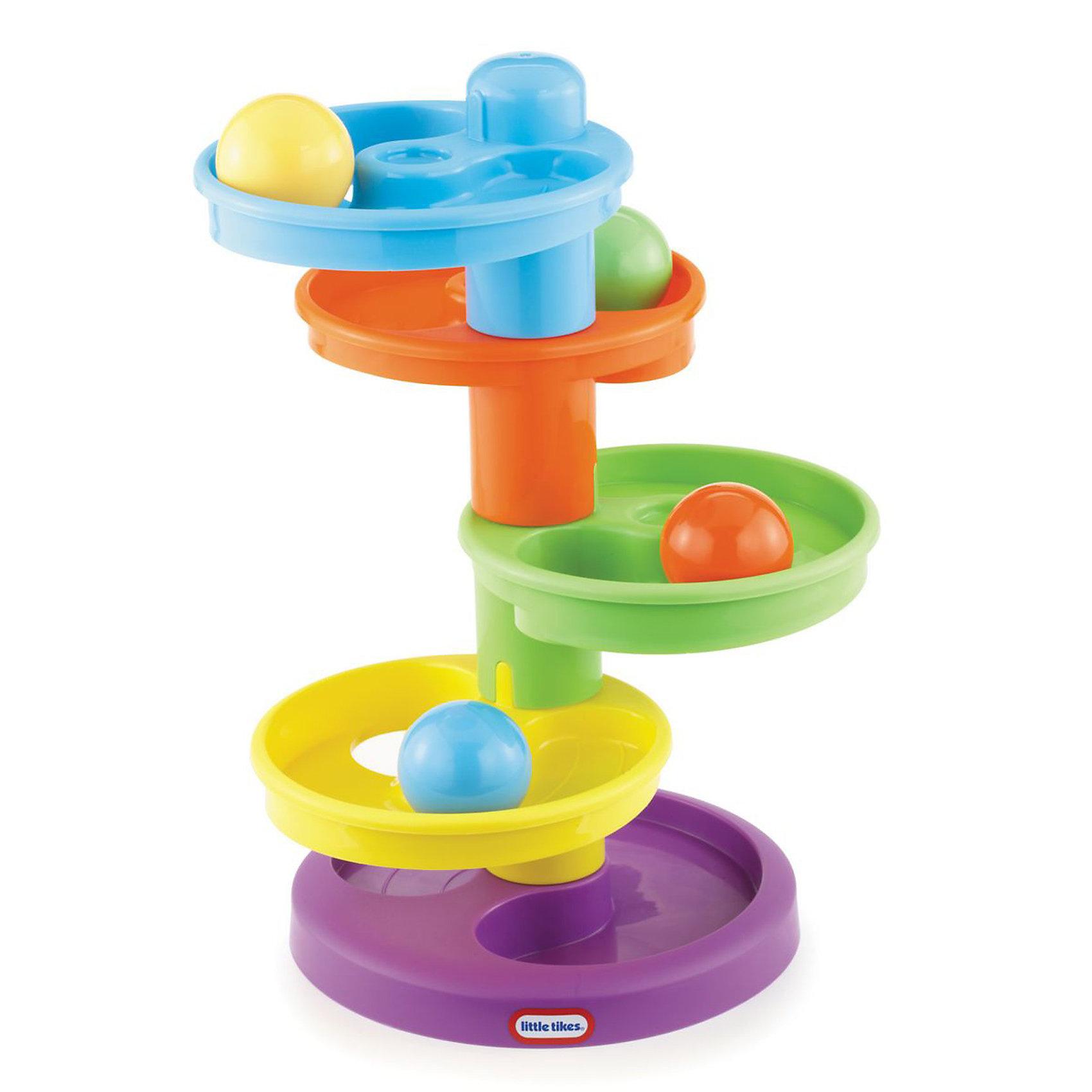 Развивающая игрушка Горка-спираль, Little TikesГорка-спираль Little Tikes (Литл Тайкс) – завораживающая игрушка, в которую малыши будут играть бесконечно! Ведь так интересно наблюдать, как разноцветные шарики катятся с уровня на уровень, один за другим. Поместите шарик на верхнюю чашу и наблюдайте, как он неумолимо стремится вниз, перескакивая с одного разноцветного этажа на другой. <br>Развивающая игрушка Горка-спираль - первый шаг ребенка в мир конструирования объемных лабиринтов. C помощью конструктора можно построить простой лабиринт, по которому будут кататься шарики. Шарики – главные персонажи игры. Ребенок запускает шарик и с интересом следит как он движется по дорожкам, проходит лабиринт и выскакивает наружу. Такое наблюдение - занятие завораживающее, игрушка надолго привлечет внимание ребенка. Яркие цвета и форма игрушки направлены на развитие мыслительной деятельности, цветовосприятия, тактильных ощущений и мелкой моторики рук ребенка.<br><br>Дополнительная информация:<br><br>- В комплекте: горка-спираль из четырех разноцветных чаш на широком устойчивом основании, четыре разноцветных гладких пластмассовых шарика;<br>- Игрушка помогает развить координацию движений, моторные навыки, с помощью разноцветных мячиков можно изучать цвета и счет;<br>- Материал:  пластик;<br>- Размеры: 12 х 28 х 28 см;<br>- Вес: 727 г.<br><br>Развивающую игрушку  Горка-спираль, Little Tikes (Литтл Тайкс)  можно купить в нашем интернет-магазине.<br><br>Ширина мм: 120<br>Глубина мм: 260<br>Высота мм: 280<br>Вес г: 726<br>Возраст от месяцев: 12<br>Возраст до месяцев: 36<br>Пол: Унисекс<br>Возраст: Детский<br>SKU: 3548350