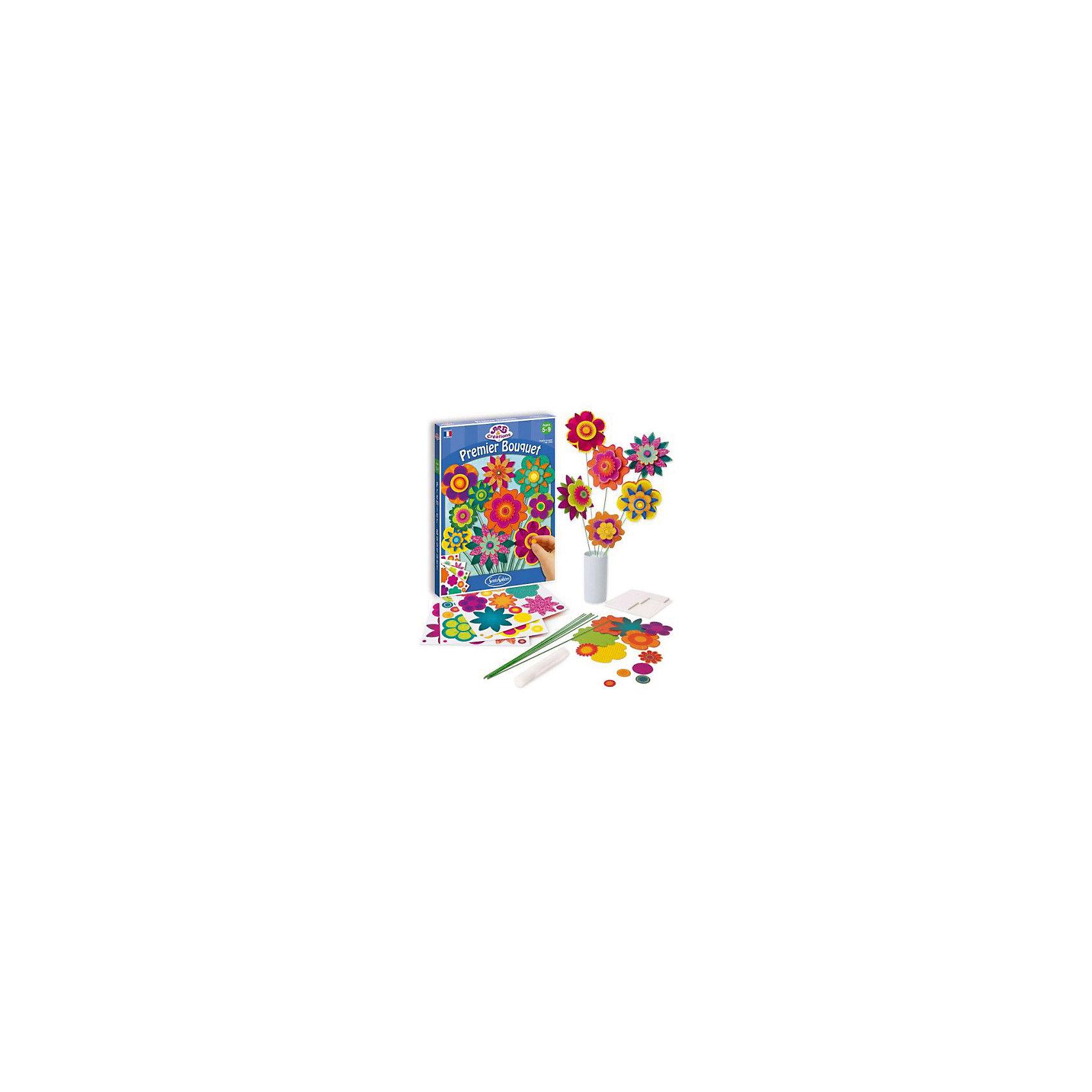 Набор для детского творчества Создай букет, SentoSphereНабор для детского творчества Создай букет, SentoSphere - это прекрасный подарок и отличный вариант для увлекательного детского творчества.<br>Яркий букет цветов своими руками! Используя разноцветные лепестки, венчики и стебельки, ребенок с огромным удовольствием создаст прелестный букетик цветов без использования клея. Если нанести блестки на лепестки, бумажные цветы и вовсе станут невероятно нарядными и праздничными. Такой букет, сделанный своими руками, можно подарить любимой маме. Набор для творчества «Создай букет» развивает фантазию, усидчивость и внимательность.<br><br>Дополнительная информация:<br><br>- В наборе: 98 лепестков и цветоносов, 15 стеблей для цветов, 1 тюбик перламутровых блесток, двусторонние клейкие квадратики<br>- Материал: бумага<br>- Размер упаковки: 20 х 28 х 1,5 см.<br><br>Набор для детского творчества Создай букет, SentoSphere можно купить в нашем интернет-магазине.<br><br>Ширина мм: 285<br>Глубина мм: 210<br>Высота мм: 27<br>Вес г: 271<br>Возраст от месяцев: 60<br>Возраст до месяцев: 120<br>Пол: Унисекс<br>Возраст: Детский<br>SKU: 3548356