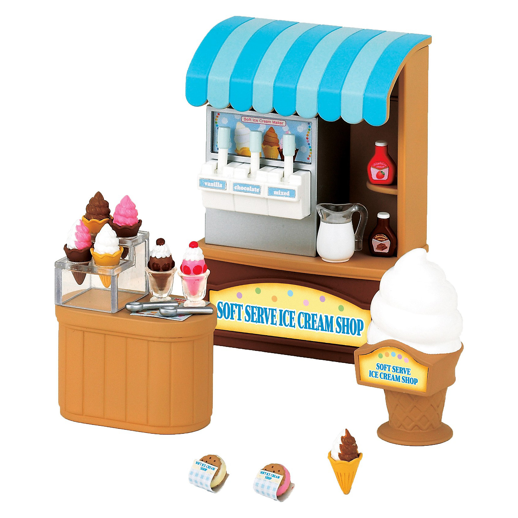 Набор Магазин мороженого, Sylvanian FamiliesSylvanian Families<br>Набор Sylvanian Families (Сильваниан Фэмелис) «Магазин мороженого» - это именно то, что нужно любому городку в стране Сильвания, ведь мороженое любят абсолютно все: и взрослые, и дети. С этим набором никто никогда не будет грустить, мороженое всегда поднимет настроение. С набором Магазин мороженого каждый сможет приготовить мороженое по собственному вкусу. Здесь есть все необходимое для этого: молоко, различные сиропы, специальные приспособления. <br>В набор «Магазин мороженого» входят: витрина, аппарат для приготовления мороженого, прилавок, рекламный стенд, различные виды мороженого, пирожные, сиропы, кувшин с молоком, специальные ложки для мороженого. Игрушка прекрасно разнообразит игры, добавит в них новые сюжеты!<br><br>Дополнительная информация:<br><br>- В наборе: витрина  с встроенным аппаратом для изготовления мороженного, прилавок, 7 видов мороженого, 2 вида пирожных, кувшин с молоком, 2 бутылочки с сиропом, рекламный щит в виде мороженого;<br>- Материал: пластик;<br>- Все детали гипоаллергенны и нетоксичны;<br>- Набор упакован в подарочную коробку;<br>- Фигурки продаются отдельно;<br>- Размер упаковки: 13,5 х 7,6 х 11,8 см;<br>- Вес: 169 г<br><br>Набор Магазин мороженого, Sylvanian Families (Сильваниан Фэмелис) можно купить в нашем интернет-магазине.<br><br>Ширина мм: 131<br>Глубина мм: 119<br>Высота мм: 78<br>Вес г: 171<br>Возраст от месяцев: 36<br>Возраст до месяцев: 72<br>Пол: Женский<br>Возраст: Детский<br>SKU: 3549171