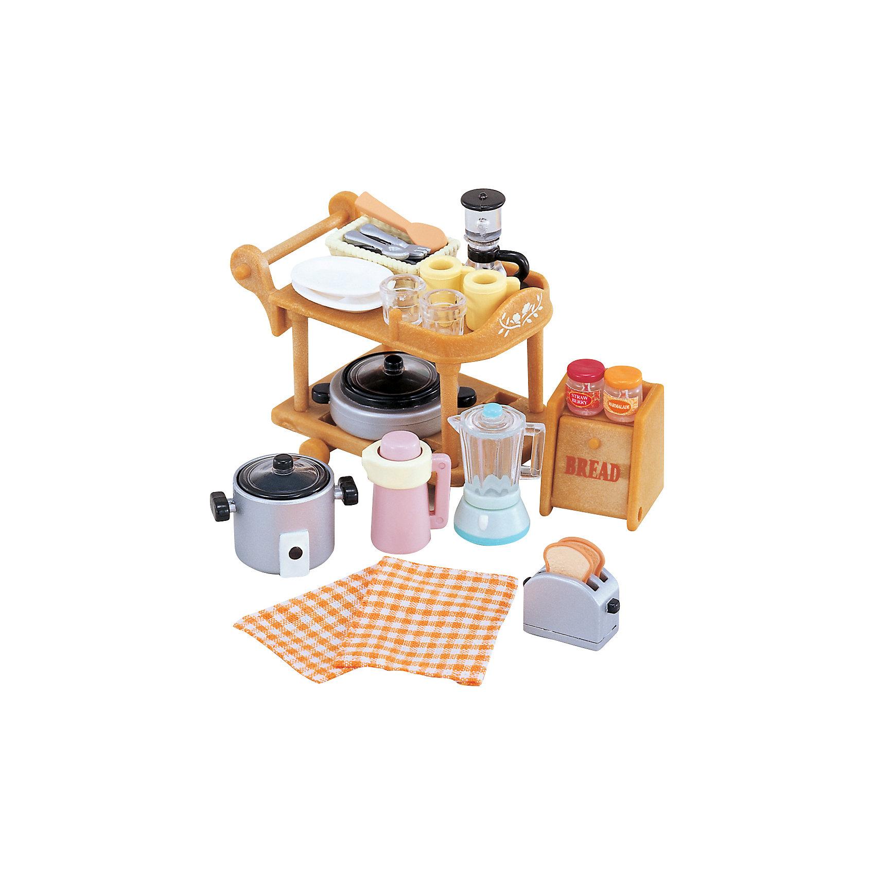 Набор Кухонная посуда, Sylvanian FamiliesSylvanian Families<br>Набор Sylvanian Families (Сильваниан Фэмелис) «Кухонная посуда» - желанный подарок для любой хозяйки из страны Сильвания. В этом наборе есть все необходимое для кухни: различная посуда, столовые приборы, кухонная техника и даже сервировочный столик. Теперь на кухне все будет храниться в полном порядке и на своих местах. Набор «Кухонная посуда» подойдет для любого дома Sylvanian Families (Сильваниан Фэмелис), ведь он не занимает много места. В каждом домике Sylvanian Families (Сильваниан Фэмелис) обязательно есть хорошо оборудованная кухня. При этом, ни на одной из них не будет лишним набор посуды с сервировочным столиком. Лесные семейки могут расположиться на обед в гостиной или поужинать на  веранде своего домика, они привезут всё необходимое на сервировочном столике. Набор украсит кухню и сделает игры с наборами Sylvanian Families (Сильваниан Фэмелис) интереснее и разнообразнее.<br><br>Дополнительная информация:<br><br>- В наборе: сервировочный столик, кастрюля, cковорода, хлебница, тостер, термос,<br>соковыжималка и кофеварка, 2 бокала, 2 чашки, столовые приборы;<br>- Материал: пластик;<br>- Все детали гипоаллергенны и нетоксичны;<br>- Набор упакован в подарочную коробку;<br>- Фигурки продаются отдельно;<br>- Размер упаковки: 13,5 х 7,8 х 5,4 см;<br>- Вес: 72 г<br><br>Набор Кухонная посуда, Sylvanian Families (Сильваниан Фэмелис) можно купить в нашем интернет-магазине.<br><br>Ширина мм: 136<br>Глубина мм: 81<br>Высота мм: 53<br>Вес г: 80<br>Возраст от месяцев: 36<br>Возраст до месяцев: 72<br>Пол: Женский<br>Возраст: Детский<br>SKU: 3549178