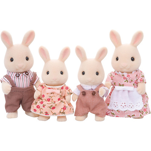 Набор Семья молочных кроликов Sylvanian FamiliesSylvanian Families<br>Набор Sylvanian Families (Сильваниан Фэмилис) «Семья молочных кроликов» - это еще один замечательный набор из раздела  Sylvanian Families «Семьи». <br>В набор входят взрослые кролики - папа и мама - и их симпатичные детки-крольчата. Глава семейства одет в полосатую рубашку и коричневый комбинезон. Воротничок у него украшен пуговицами. Мама-крольчиха очень гордится своим розовым платьем с белым передником. Крольчонок-сын одет в бежевый комбинезончик и рубашку, а его очаровательная сестренка – в бежевое платьице, украшенное розовыми цветами. Вся одежда легко снимается, ее можно стирать. Фигурки зверушек выполнены из приятного бархатистого материала. Головы и лапки кроликов двигаются, что делает игру еще более правдоподобной. <br>Как и другие игровые наборы Sylvanian Families набор «Семья молочных кроликов» развивает у ребенка чувство ответственности и заботы, формирует представление о семейных ценностях.<br><br>Дополнительная информация:<br><br>- В наборе фигурки кроликов: мама, папа, сын и дочка;<br>- Сделаны из приятного на ощупь материала;<br>- Прекрасно подходят для сюжетно-ролевых игр;<br>- Все фигурки в красивых нарядах;<br>- Голова, ручки и ножки у фигурок двигаются;<br>- Высота фигурок: родители - 8 см, дети - 6 см;<br>- Размер упаковки: 5,5 х 20  х 18 см<br><br>Набор Семья молочных кроликов Sylvanian Families (Сильваниан Фэмилис)  можно купить в нашем интернет-магазине.<br>Ширина мм: 206; Глубина мм: 170; Высота мм: 58; Вес г: 155; Возраст от месяцев: 36; Возраст до месяцев: 72; Пол: Женский; Возраст: Детский; SKU: 3549181;