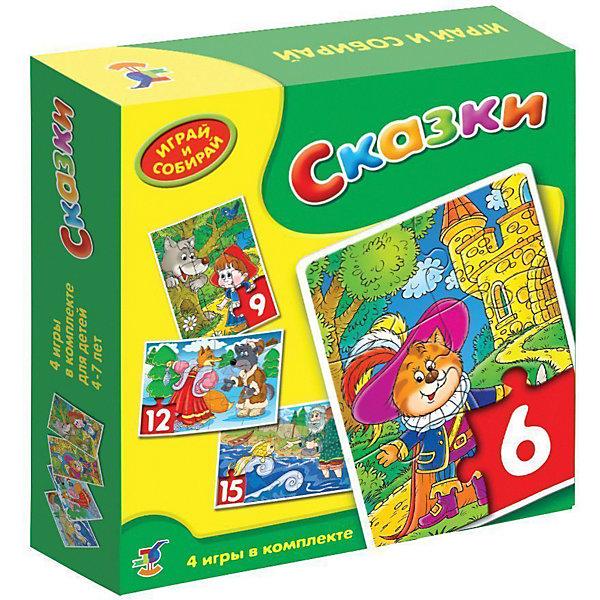 Сказки Играй и собирай, Дрофа-МедиаПазлы для малышей<br>Увлекательная игра-мозаика для детей на тему любимых сказок.<br>В этой игре вы найдете 4 мозаики, состоящие из 6, 9, 12 или 15 довольно крупных элементов. Эти мозаики под силу собрать даже начинающим игрокам.<br>Игры-мозаики учат детей собирать простые картинки, подбирать детали по форме и изображению, способствуют развитию внимания, наблюдательности, наглядно-образного мышления и усидчивости, совершенствуют мелкую моторику рук.<br><br>Дополнительная информация:<br><br>- В комплекте: 4 мозаики из 6, 9, 12 и 15 деталей.<br>- Материал: картон<br><br>Сказки Играй и собирай, Дрофа-Медиа можно купить в нашем интернет-магазине.<br><br>Ширина мм: 185<br>Глубина мм: 180<br>Высота мм: 40<br>Вес г: 212<br>Возраст от месяцев: 48<br>Возраст до месяцев: 84<br>Пол: Унисекс<br>Возраст: Детский<br>SKU: 3549724
