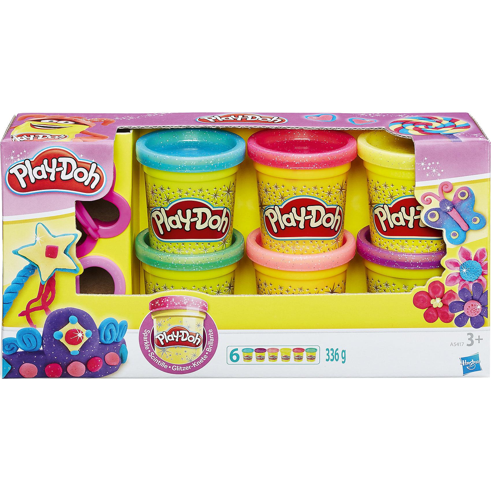 Набор пластилина из 6 баночек Блестящая коллекция, Play-DohНаборы для лепки<br>Набор пластилина Блестящая коллекция, Play-Doh, поможет Вашей девочке реализовать свои творческие фантазии и создать свой собственный сказочный мир. В наборе шесть баночек разноцветного сверкающего пластилина и две формочки в виде бабочки и сердечка.<br>Пластилин Play-Doh полностью безопасен для детей, не липнет к рукам, не пачкает одежду и имеет приятный запах. Данный комплект отлично подойдет в качестве дополнения к линейке наборов Play-Doh (Плей До) Принцессы Диснея. <br>Занятия лепкой развивают у ребенка фантазию, творческие способности и объемное воображение, тренируют координацию движений и мелкую моторику.<br><br>Дополнительная информация:<br><br>- В комплекте: 6 баночек с разными цветами, 2 формочки. <br>- Размер упаковки: 5,7 х 22,2 х 11,4 см.<br>- Общий вес всего набора: 336 гр.<br><br>Набор пластилина из 6 баночек Блестящая коллекция, Play-Doh можно купить в нашем интернет-магазине.<br><br>Ширина мм: 224<br>Глубина мм: 116<br>Высота мм: 60<br>Вес г: 494<br>Возраст от месяцев: 36<br>Возраст до месяцев: 72<br>Пол: Унисекс<br>Возраст: Детский<br>SKU: 3550095