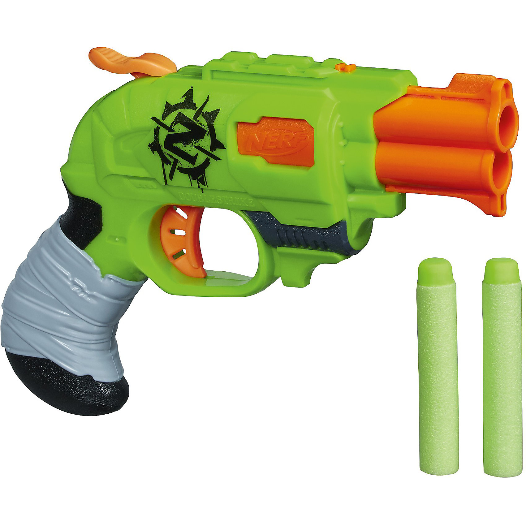 Бластер Зомби Страйк Двойная Атака, NERFБластеры, пистолеты и прочее<br>Бластер Зомби Страйк Двойная Атака, NERF - легкий и компактный бластер в виде револьвера, сможет поразить зомби сразу двумя выстрелами.<br>Охота на Зомби началась! Компактный бластер для молниеносной атаки на Зомби! Бластер стреляет двумя патронами одновременно и перезаряжается вручную. Для каждого выстрела нужно перезаряжать патроны и передергивать затвор. Используйте патроны, предназначенные только для этого бластера.<br><br>Дополнительная информация:<br><br>- В комплекте: бластер, два патрона<br>- Дальность стрельбы: 22 м.<br>- Материал бластера: высококачественная пластмасса<br>- Материал патронов: вспененный полимер<br>- Размер упаковки: 19 x 23 x 5 см.<br>- Вес: 140 гр.<br><br>Бластер Зомби Страйк Двойная Атака, NERF можно купить в нашем интернет-магазине.<br><br>Ширина мм: 239<br>Глубина мм: 195<br>Высота мм: 55<br>Вес г: 230<br>Возраст от месяцев: 96<br>Возраст до месяцев: 144<br>Пол: Мужской<br>Возраст: Детский<br>SKU: 3550829