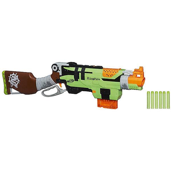 Бластер Зомби СлингФайр, NERFИгрушечные пистолеты и бластеры<br>Бластер Зомби СлингФайр, NERF -  мечта абсолютно любого мальчишки. Охота на Зомби началась!  Большой бластер с крутым механизмом перезарядки. У модели есть приклад и прицел. Бластер имеет очень оригинальный дизайн - в двух местах он перемотан специальным бандажом, который придает оружию вид настоящего дробовика. Мощность бластера позволяет поражать цель, расположенную на расстоянии до 22 метров. В его обойме  6 снарядов, представляющих собой небольшие пластиковые стрелы с мягким наконечником. Игрушка изготовлена из пластика высокого качества, безопасного для детей.<br><br>Дополнительная информация:<br><br>- Комплектация: бластер, 6 снарядов.<br>- Материал: пластик.<br>- Размер упаковки: 65 x 25 x 6 см.<br>- Соблюдайте осторожность не стреляйте в лицо и глаза!<br><br>Бластер Зомби СлингФайр NERF (Нерф) можно купить в нашем магазине.<br>Ширина мм: 664; Глубина мм: 255; Высота мм: 64; Вес г: 1014; Возраст от месяцев: 96; Возраст до месяцев: 144; Пол: Мужской; Возраст: Детский; SKU: 3550830;