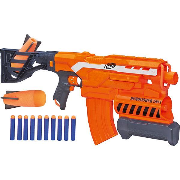 Бластер Элит Разрушитель, NERFИгрушечные пистолеты и бластеры<br>Бластер Элит Разрушитель, NERF -  мечта абсолютно любого мальчишки. Имеет два режима стрельбы - стандартными снарядами и гранатами. У модели есть приклад и прицел. В прикладе имеется емкость для хранения дополнительных снарядов. Мощность бластера позволяет поражать цель, расположенную на расстоянии до 27 метров (обычными снарядами) и на расстоянии 16 метров- гранатами. В его обойме 2 гранаты и 10 зарядов, представляющих собой небольшие пластиковые стрелы с мягким наконечником. Игрушка изготовлена из пластика высокого качества, безопасного для детей.<br><br>Дополнительная информация:<br><br>- Комплектация: бластер, 10 снарядов,2 гранаты.<br>- Материал: пластик.<br>- Элемент питания: 4 АА батарейки.<br>- Соблюдайте осторожность не стреляйте в лицо и глаза!<br><br>Бластер Элит Разрушитель (Нерф) можно купить в нашем магазине.<br>Ширина мм: 649; Глубина мм: 309; Высота мм: 86; Вес г: 1672; Возраст от месяцев: 96; Возраст до месяцев: 144; Пол: Мужской; Возраст: Детский; SKU: 3550832;