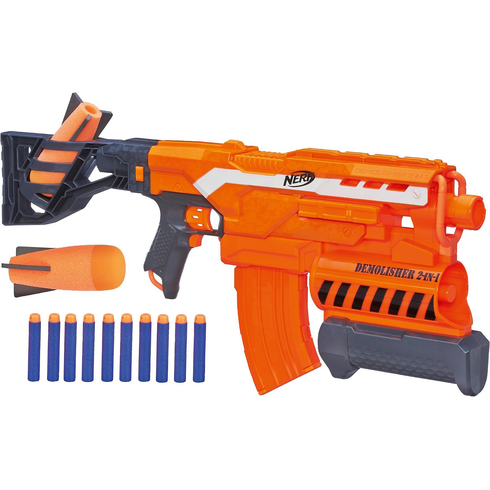 Бластер Элит Разрушитель, NERFИгрушечное оружие<br>Бластер Элит Разрушитель, NERF -  мечта абсолютно любого мальчишки. Имеет два режима стрельбы - стандартными снарядами и гранатами. У модели есть приклад и прицел. В прикладе имеется емкость для хранения дополнительных снарядов. Мощность бластера позволяет поражать цель, расположенную на расстоянии до 27 метров (обычными снарядами) и на расстоянии 16 метров- гранатами. В его обойме 2 гранаты и 10 зарядов, представляющих собой небольшие пластиковые стрелы с мягким наконечником. Игрушка изготовлена из пластика высокого качества, безопасного для детей.<br><br>Дополнительная информация:<br><br>- Комплектация: бластер, 10 снарядов,2 гранаты.<br>- Материал: пластик.<br>- Элемент питания: 4 АА батарейки.<br>- Соблюдайте осторожность не стреляйте в лицо и глаза!<br><br>Бластер Элит Разрушитель (Нерф) можно купить в нашем магазине.<br><br>Ширина мм: 649<br>Глубина мм: 309<br>Высота мм: 86<br>Вес г: 1672<br>Возраст от месяцев: 96<br>Возраст до месяцев: 144<br>Пол: Мужской<br>Возраст: Детский<br>SKU: 3550832