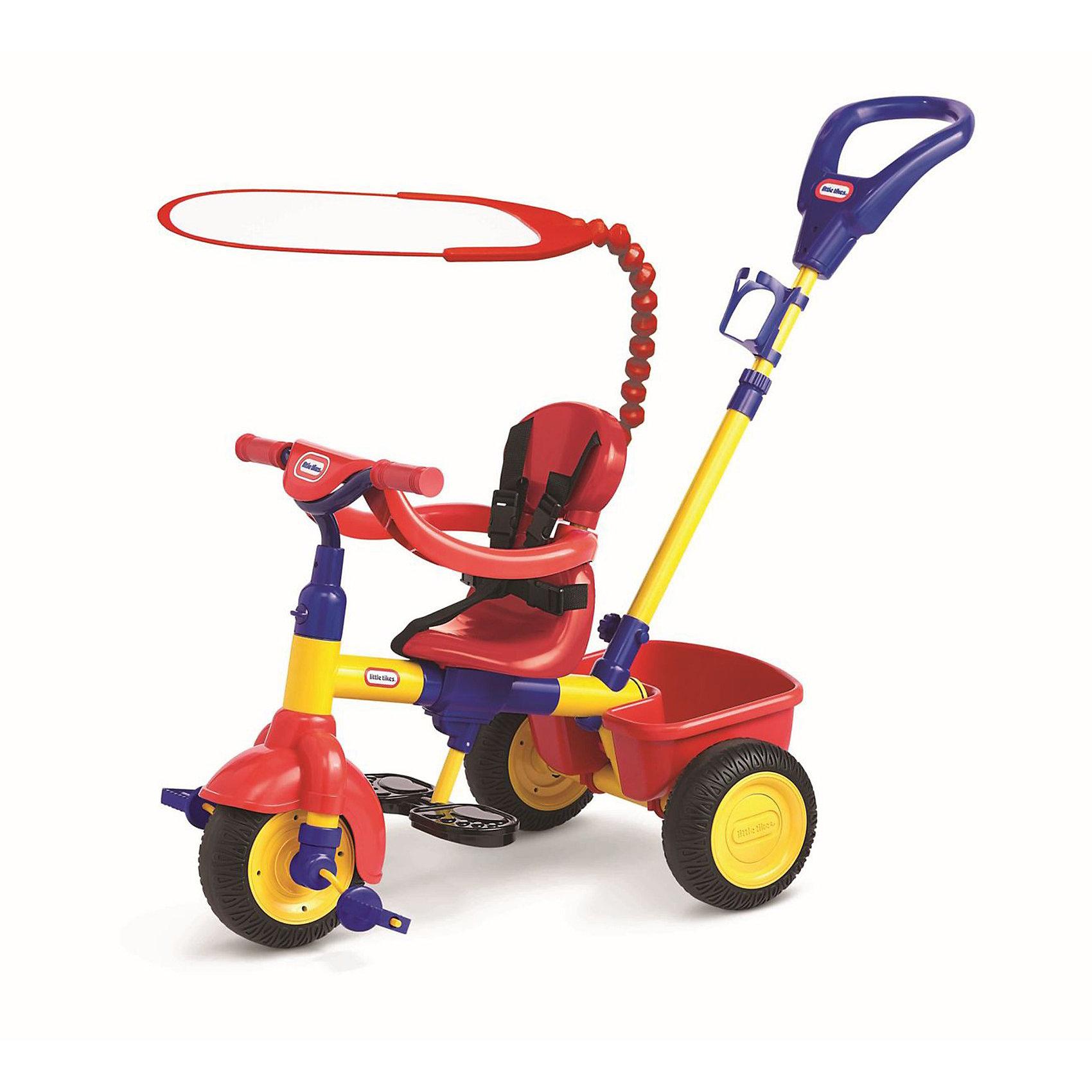 Велосипед 3-в-1, Little TikesВелосипед 3-в-1, Little Tikes (Литл Тайкс) предназначен для малышей от 9 до 36 месяцев. Естественно, что на протяжении такого длительного периода малыш растет, развивается, мы хотим, чтобы ему было комфортно на каждом этапе развития, поэтому предусмотрели возможность трансформирования (3 этапа):<br> 1-й этап: Родители сами возят ребенка с помощью удобной ручки. Малыш закреплен ремнями безопасности, ограничителем, ноги размещены на специальной подставке. <br>2-й этап: Малыш немного подрос, можно снять ограничитель и закрепить сиденье в положении 2.<br>3-й этап: Малыш подрос и может самостоятельно кататься на 3-х колесном велосипеде, трансформируем игрушку дальше: снимаем спинку, ремни безопасности, подставку для ног, снимаем блокировку с руля, снимаем ручку для катания и тент.<br>Прекрасный яркий велосипед красно-синий велосипед будет радовать Вашего малыша не одно лето!<br><br>Дополнительная информация:<br><br>- Толстая прочная рама;<br>- Прочная ручка, с помощью которой родители могут возить малыша, пока он не научился кататься самостоятельно;<br>- Удобное сиденье, его можно размещать на раме в 3- положениях;  <br>- Открепляющаяся спинка;<br>- Удобный руль, с антискользящим рифлением; <br>- Педали с антискользящей поверхностью, в форме медвежонка; <br>- Колеса с протектором, тихие и бесшумные при езде по асфальту, изготовлены из PP (полипропилен) и PVC (полихлорвинил) - прочного и пластичного материала, устойчивого к порезам и проколам, к воздействию влаги, стойкого к истиранию;<br>- Ремни безопасности;<br>- Ограничитель (в дополнение к ремням безопасности, для 1-го этапа);<br>- Держатель для бутылочки;<br>- Корзина сзади (в которую малыш может положить любимые игрушки, а мама необходимые вещи, которые могут понадобиться во время прогулки);<br>- Тент от солнца, он крепится к велосипеду при помощи длинного крепежа, который может гнуться в любую сторону и под любым углом;<br>- Максимально допустимая нагрузка на корзину: 2,3 кг;<br>- Допус